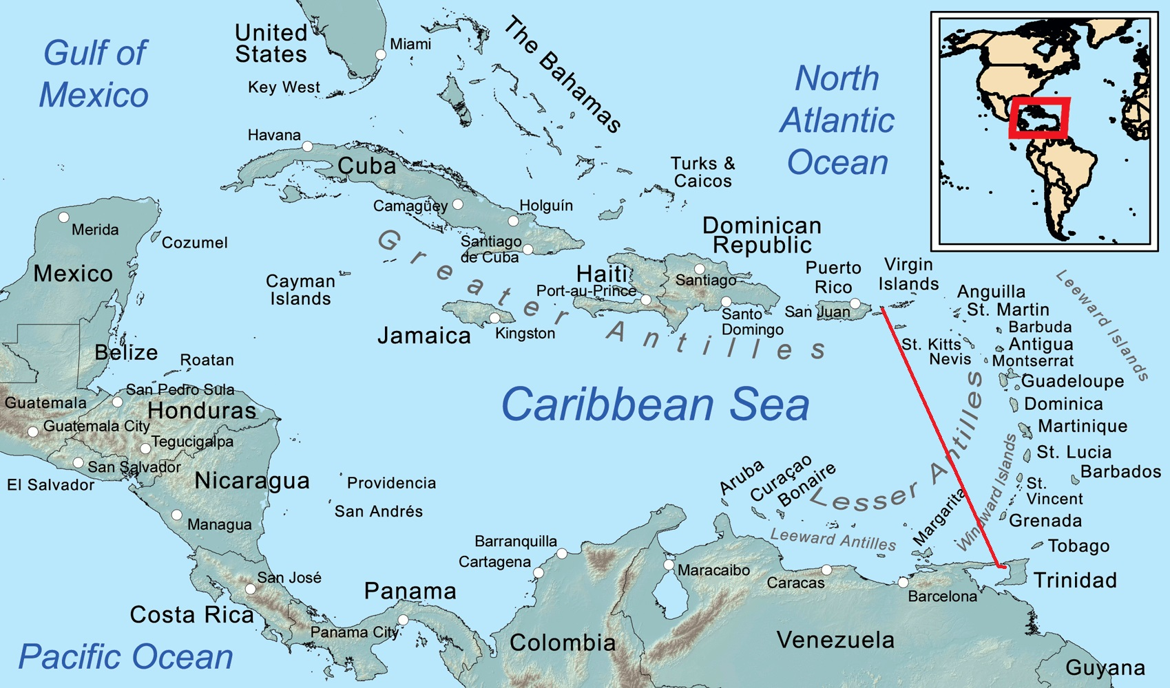 The 520nm passage route from Trinidad to Culebra Island off Puerto Rico.