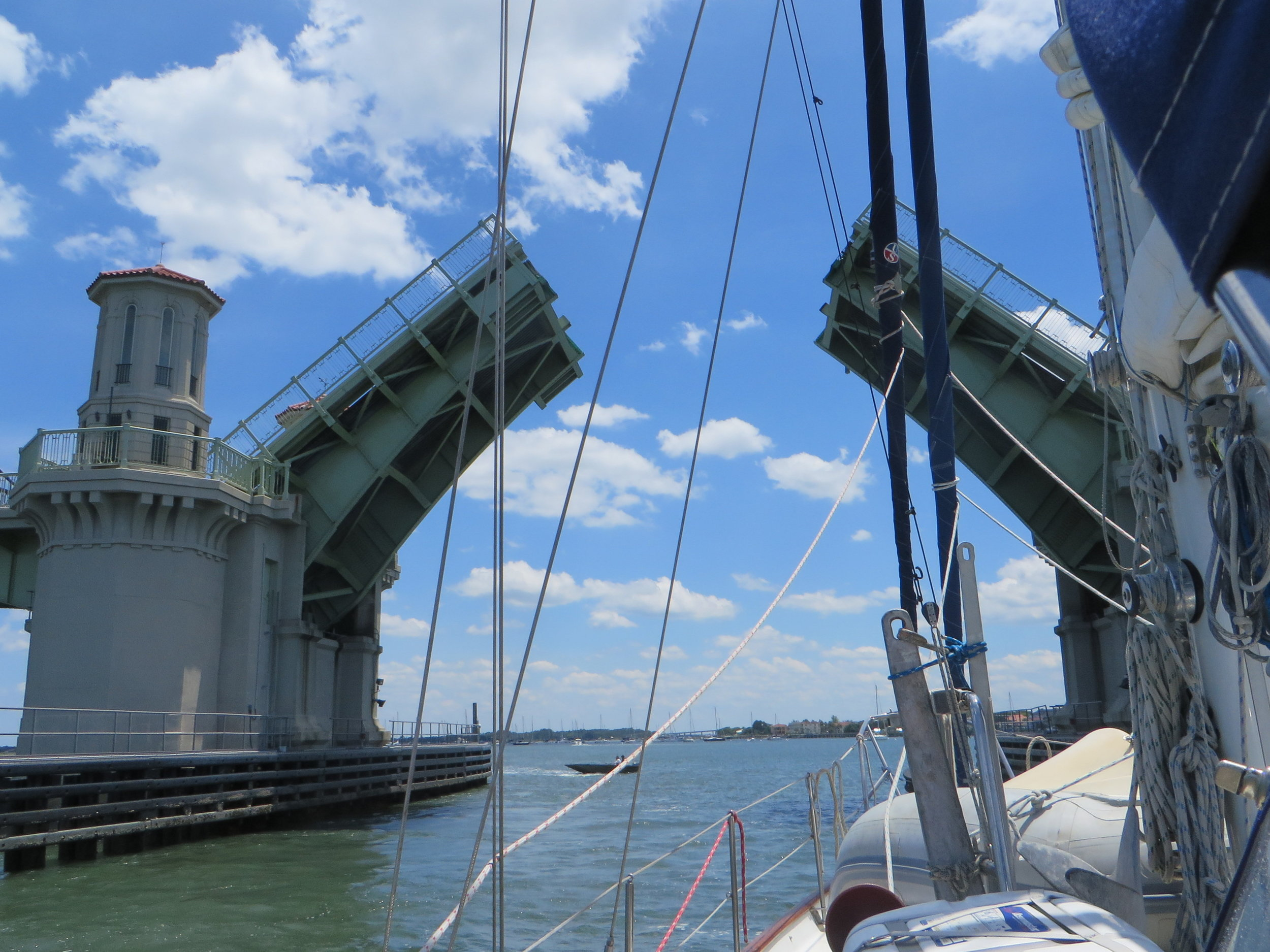 Sailing through the Bridge of Lions at St. Augustine, Florida.