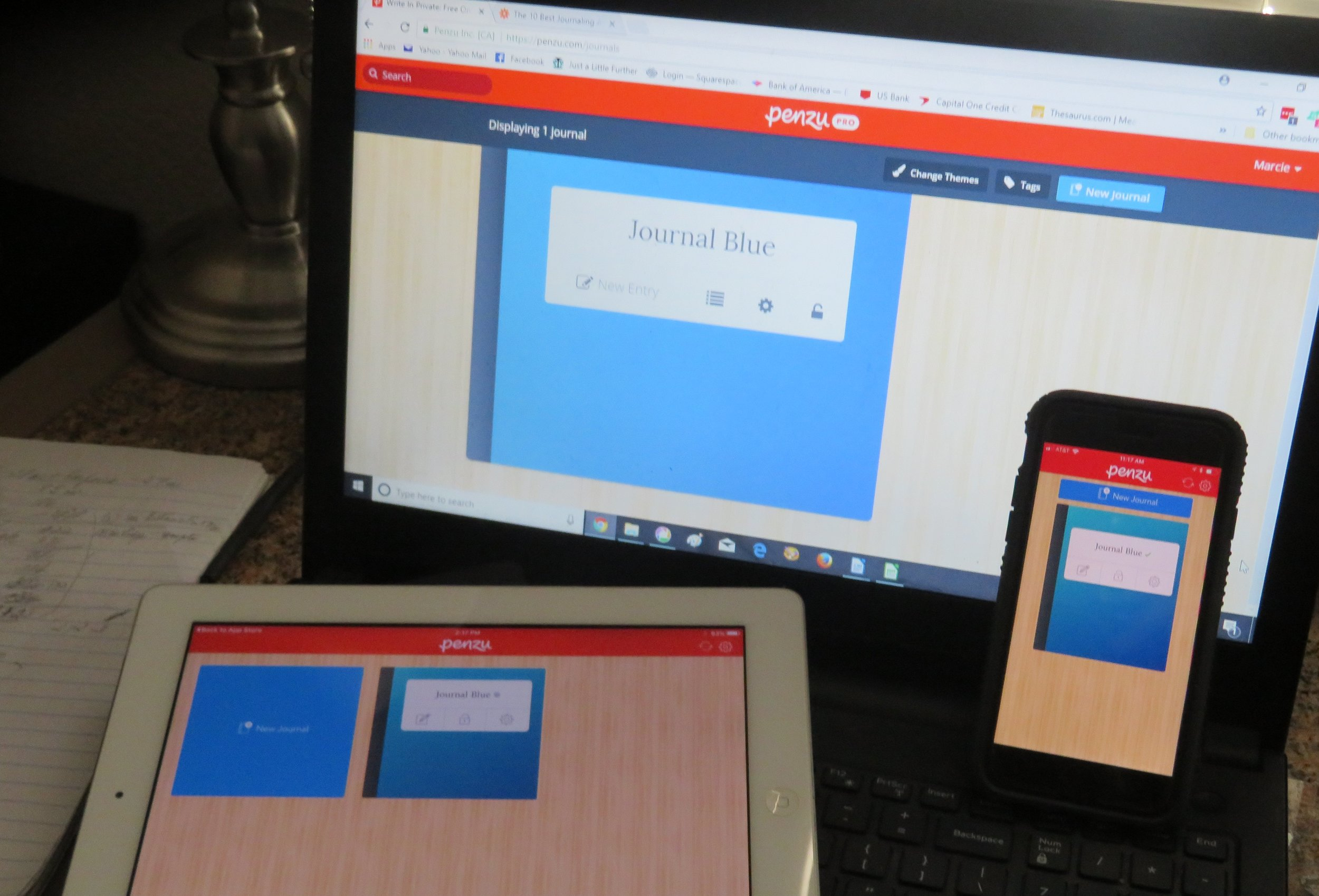 I downloaded the Penzu app to my laptop, iPhone and iPad