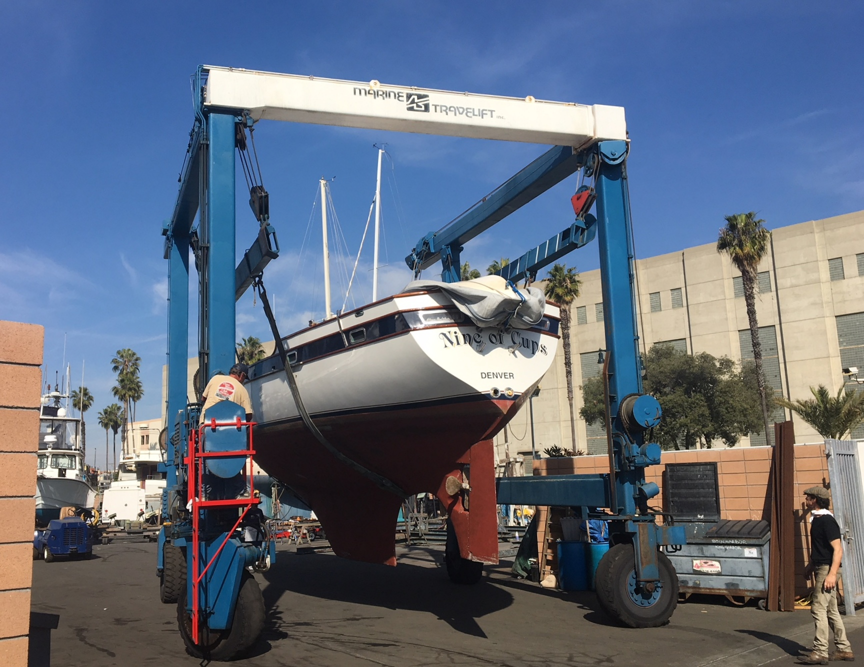 Cups arrives at King Harbor Marina in Redondo Beach, California. Check out those palm trees!