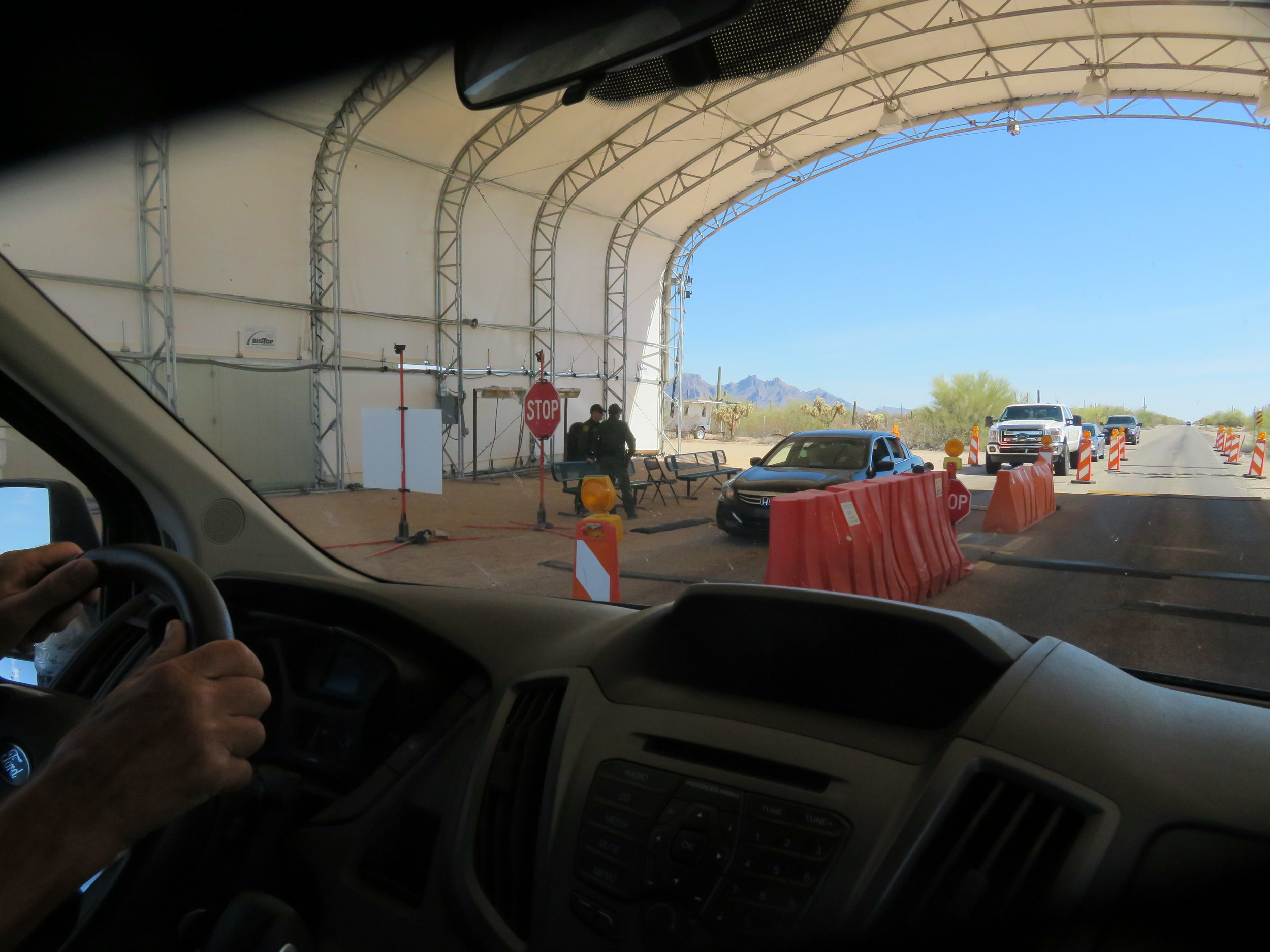 We're not far from Mexico and passed through Border Patrol checkpoints en route.