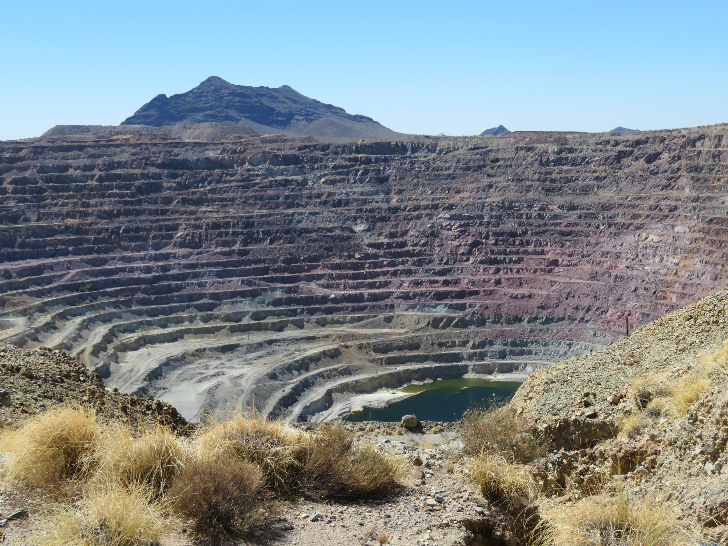 This copper pit mine, as seen from the overlook, is massive.