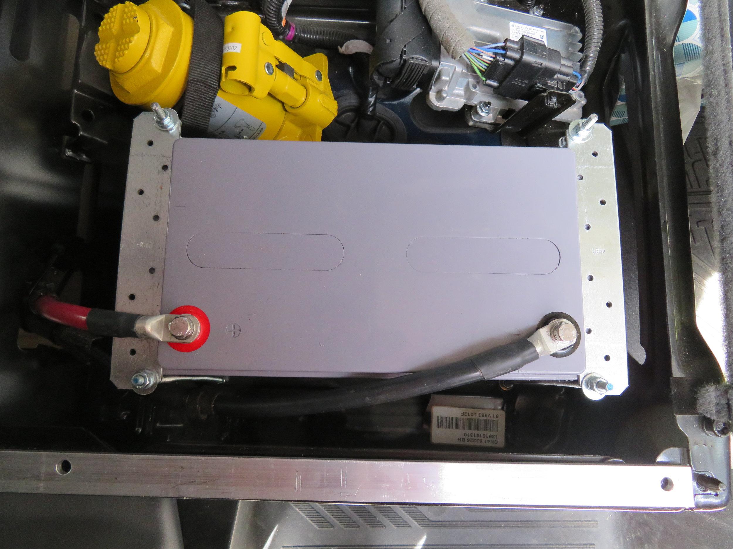 Battery installed under Marcie's seat