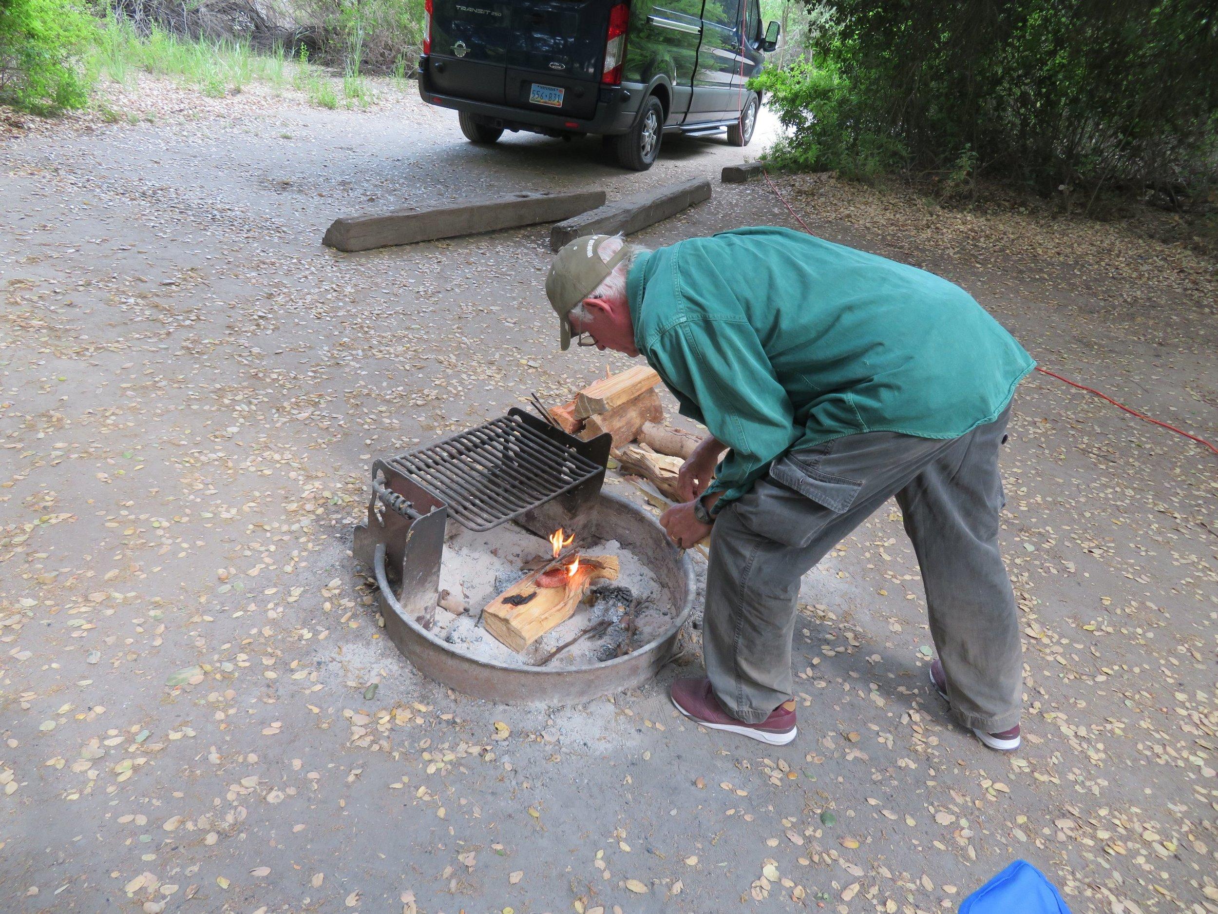 An evening campfire ...