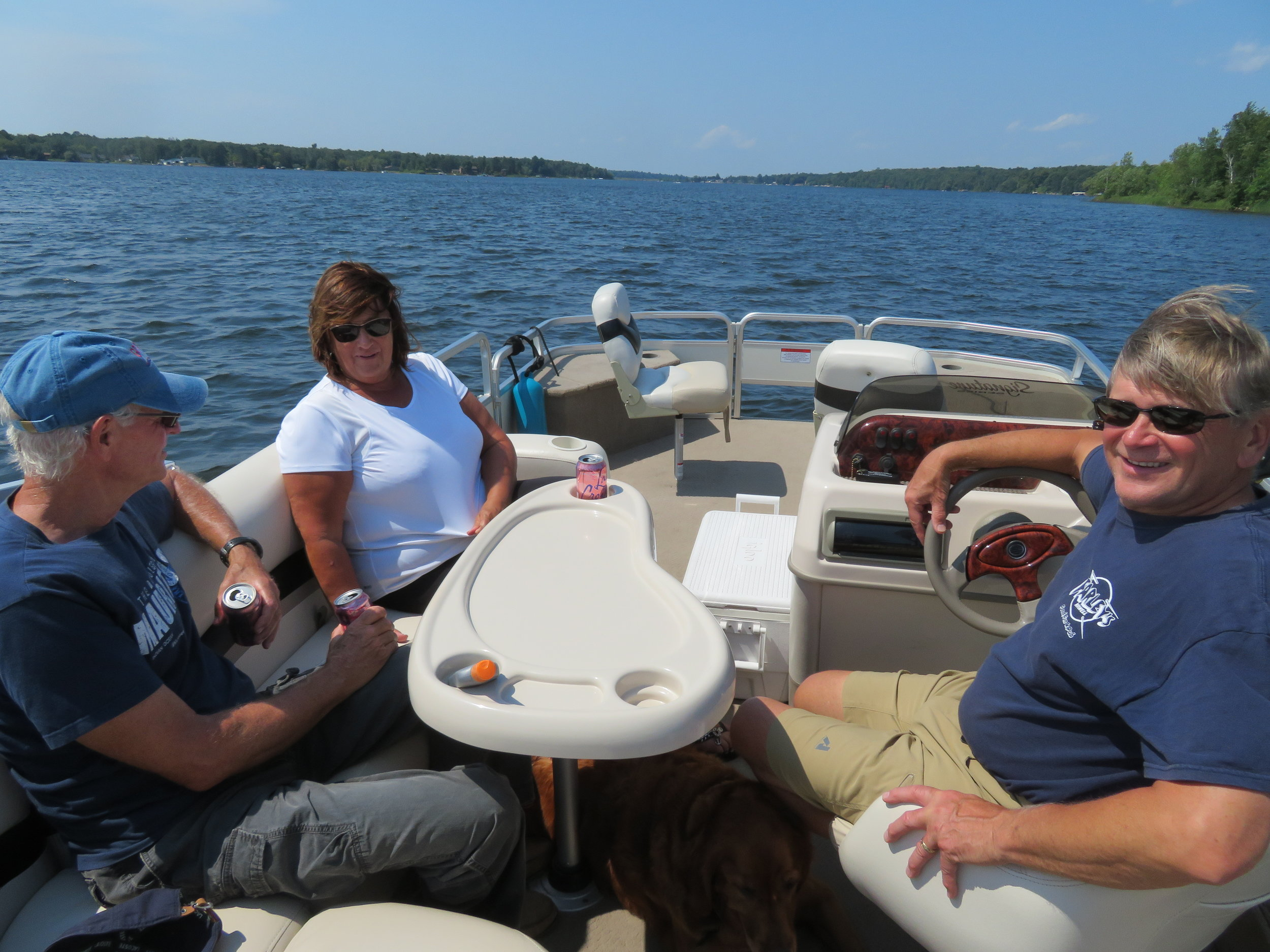 Pontoon boat ride on Lake Pokegama with Diane & Steve