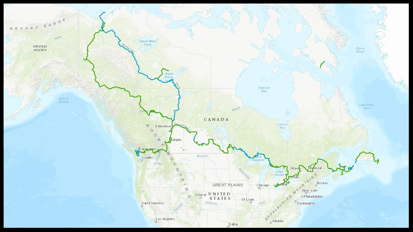 Map of the Great Trail - Canada. We're talking a serious hike here.