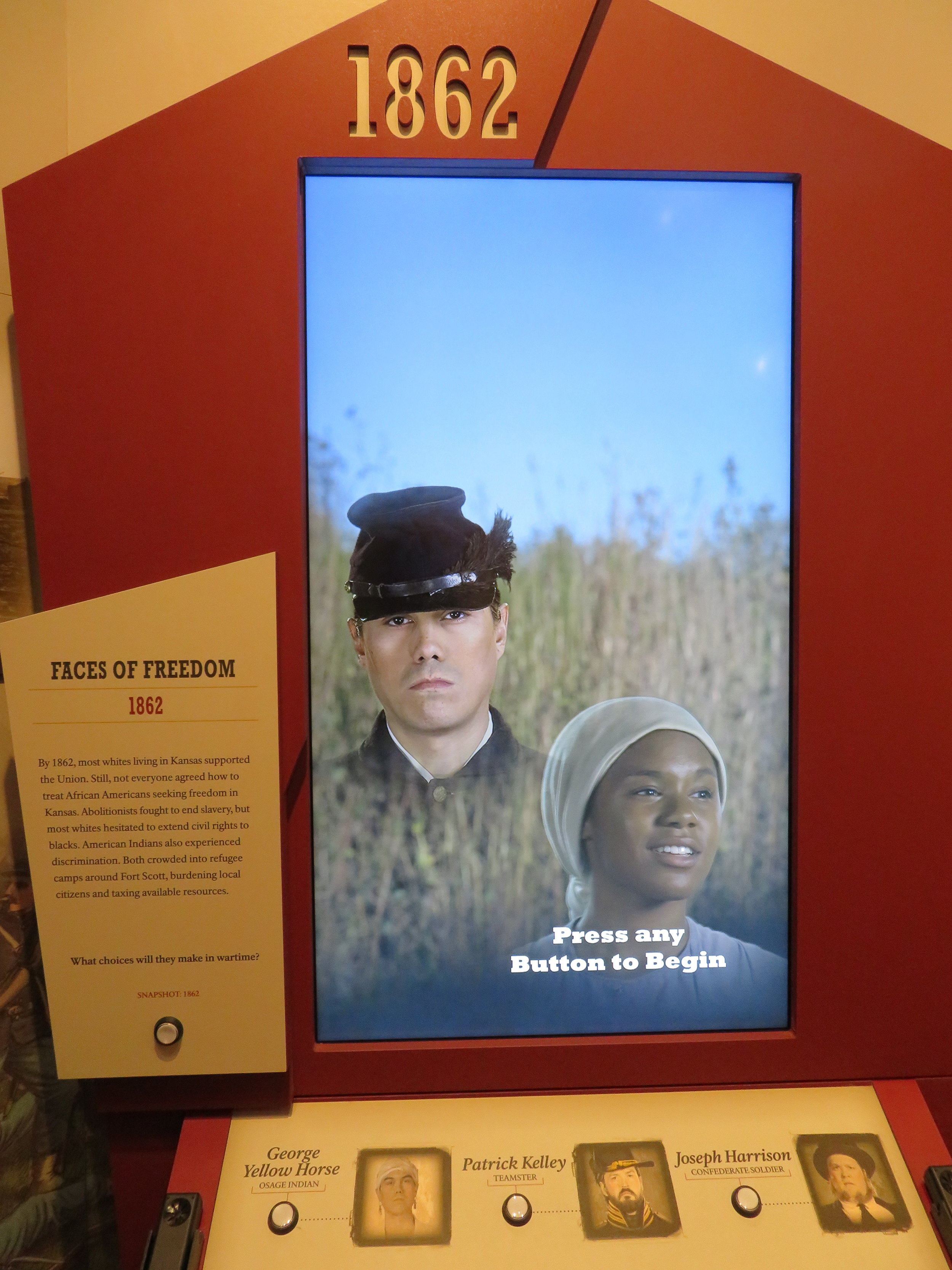 An interesting interactive media display contrasted the many views of Kansans on slavery.