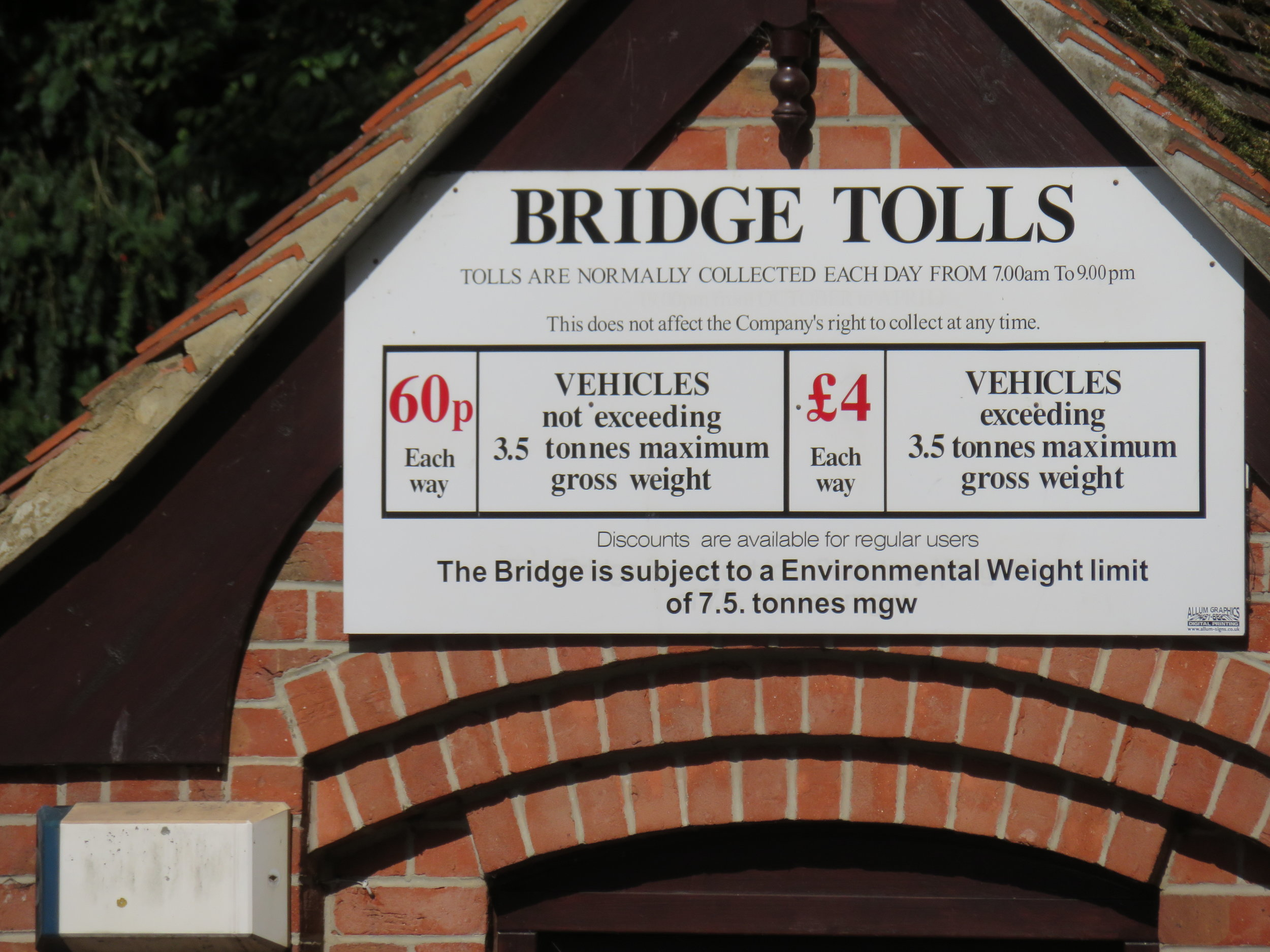 Today's bridge tolls