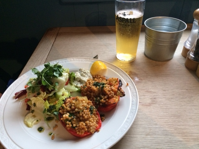 Stuffed peppers with a cider chaser