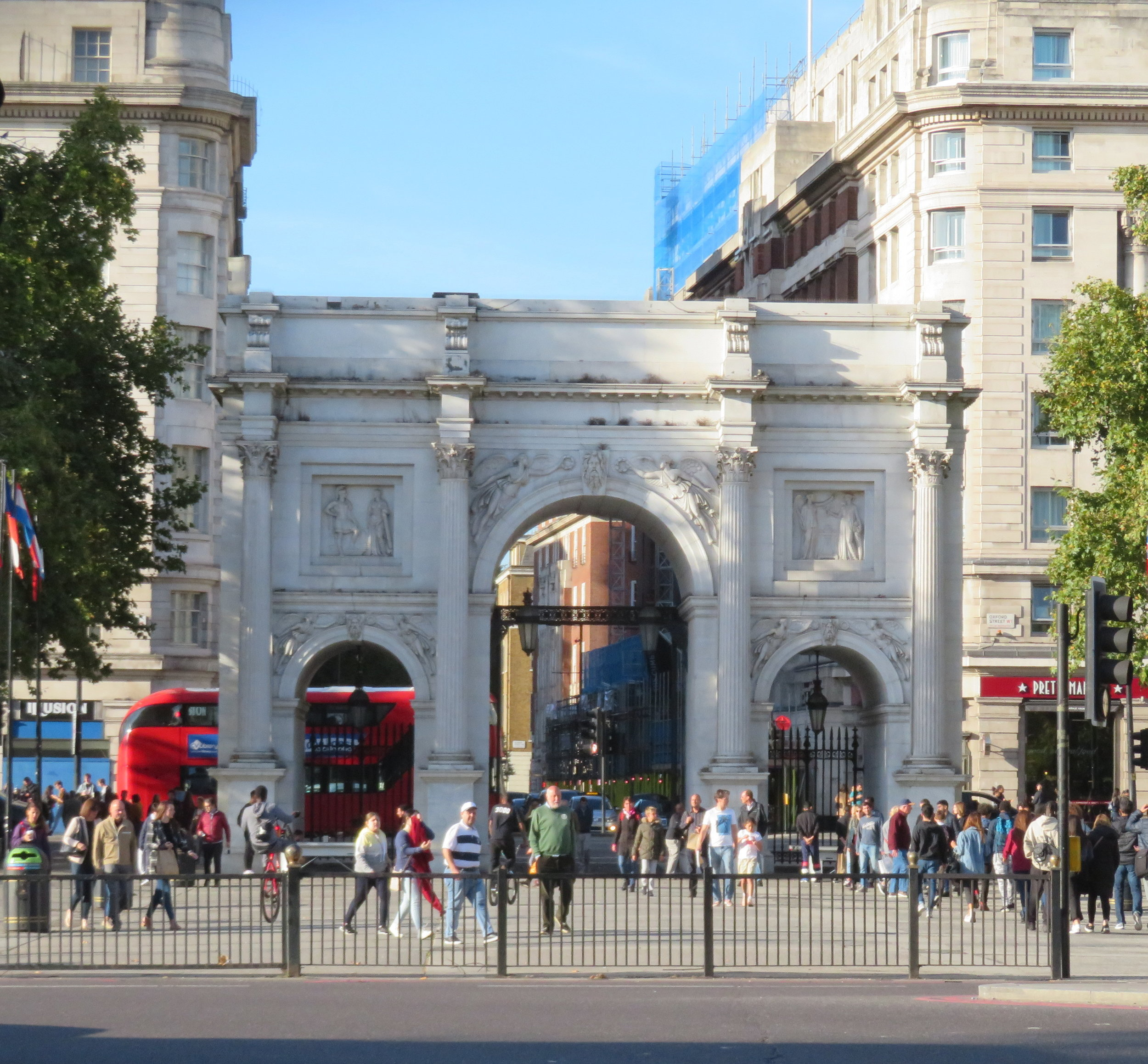 The Marble Arch, a triumphal arch which, although stately, seems out of place in this traffic island.