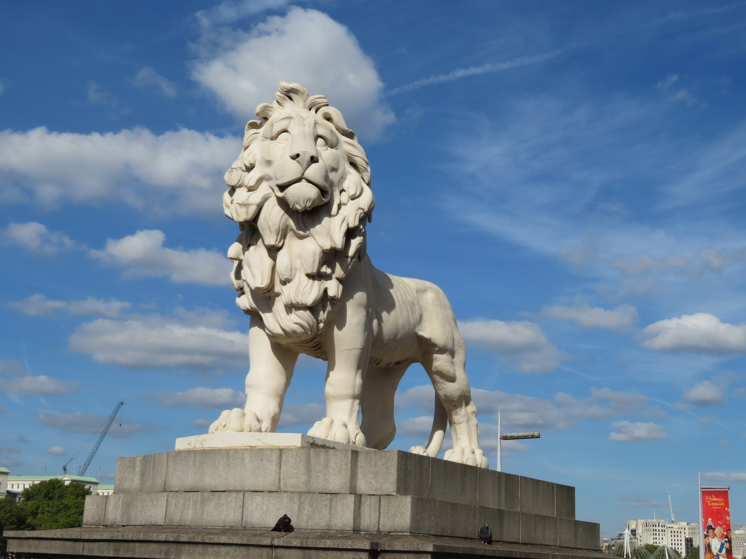 The  South Bank LIon  on the south end of the Westminster Bridge once stood atop the Lion Brewery building in the 1830s.