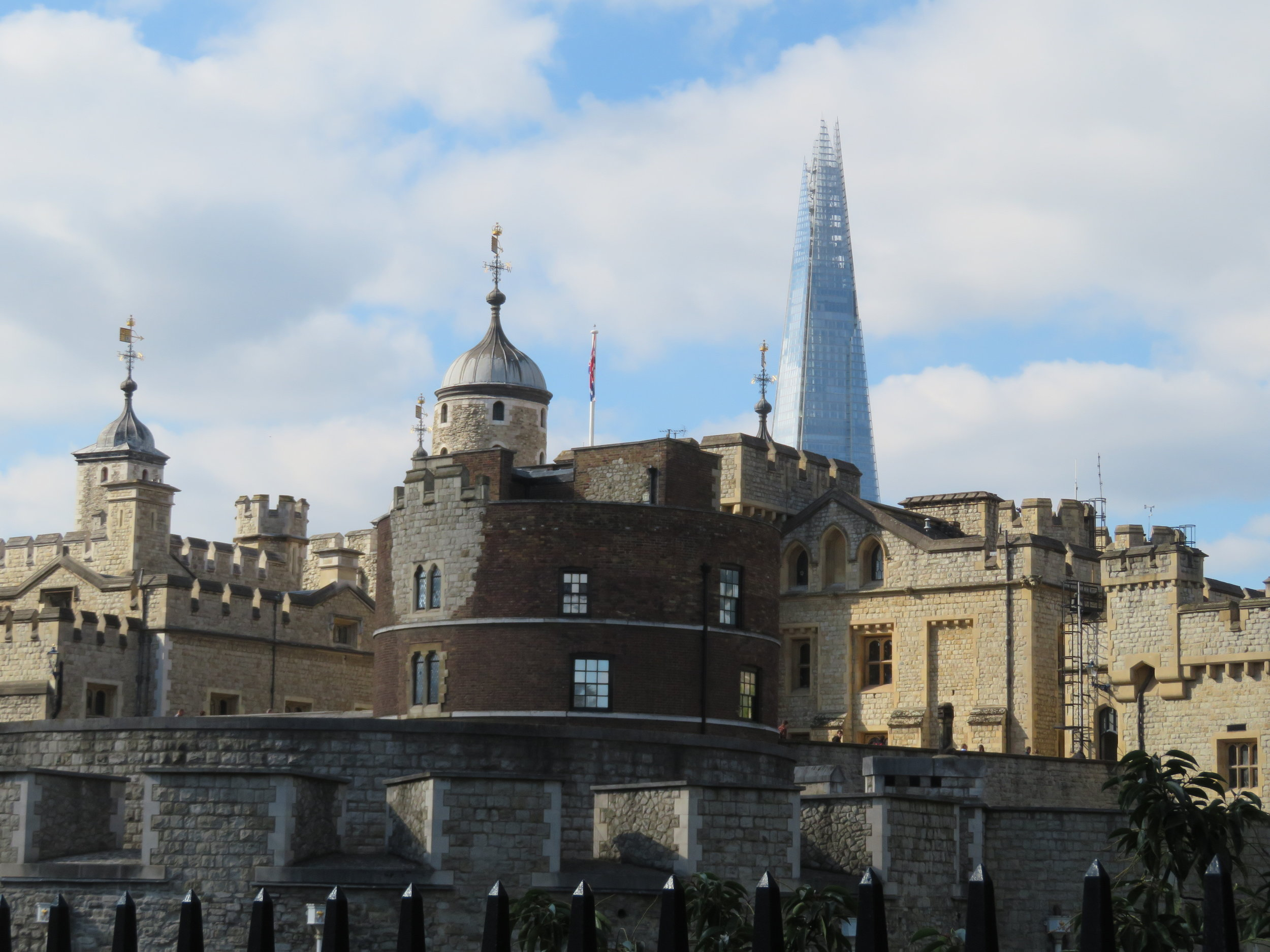 Tower of London with the pinnacle of The Shard in the background