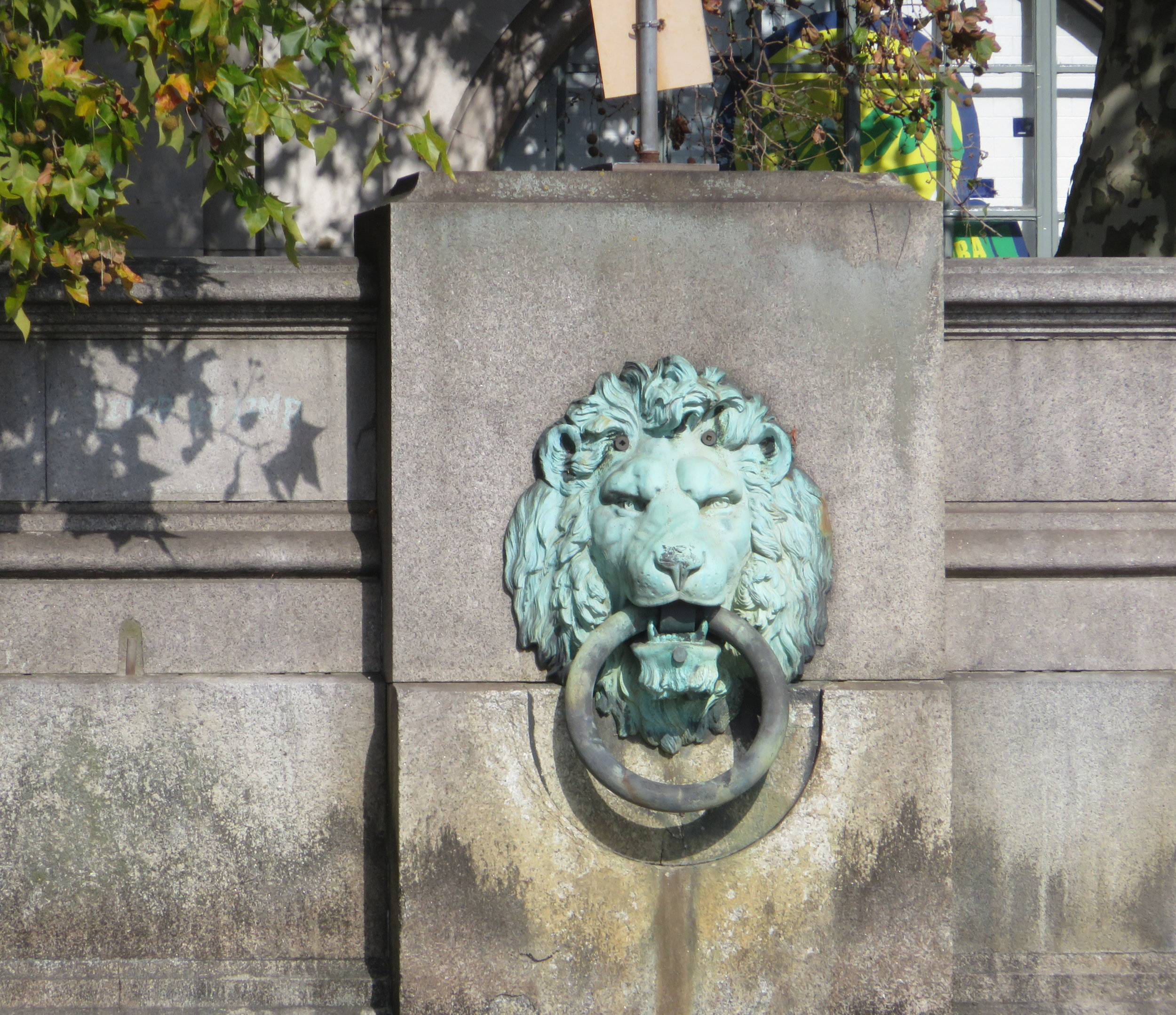 Handsome, verdigris lion's head mooring rings line the Victoria Embankment and though the moorings were evidently seldom used, a London rhyme about the rising of the river is still recited … 'When the lions drink, London will sink. When it's up to their manes, we'll go down the drains.'