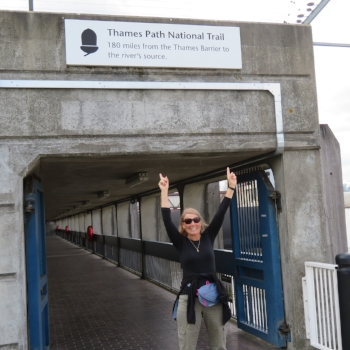 Arrival in England and On the Trail  Starting at the Thames Barrier in Woolwich … the beginning of our 184-mile walk