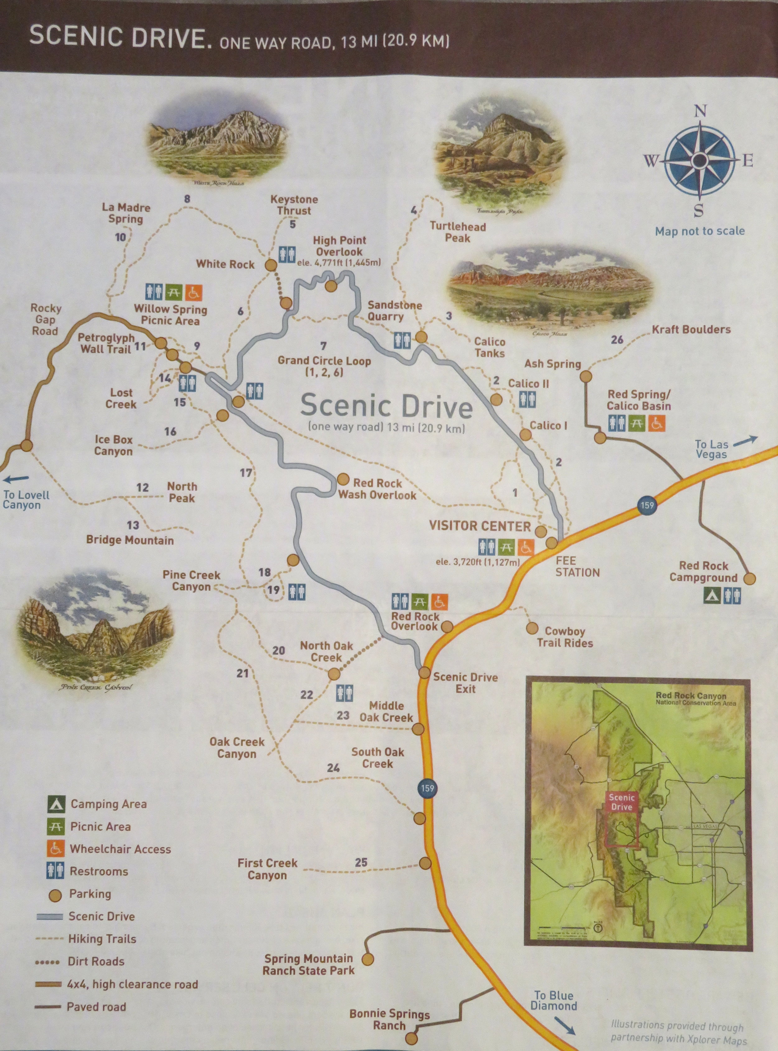 The park map showed lots of hiking opps for easy, moderate and difficult levels.