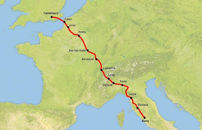 The Via Francigena - 1,056 miles thru English, French, Swiss and Italian countryside