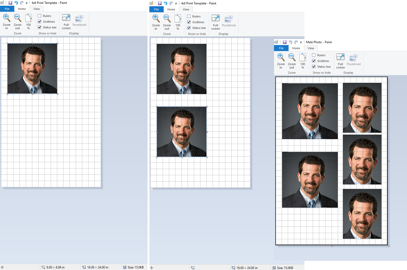 Paste the first photo, then the second, and however more will fit