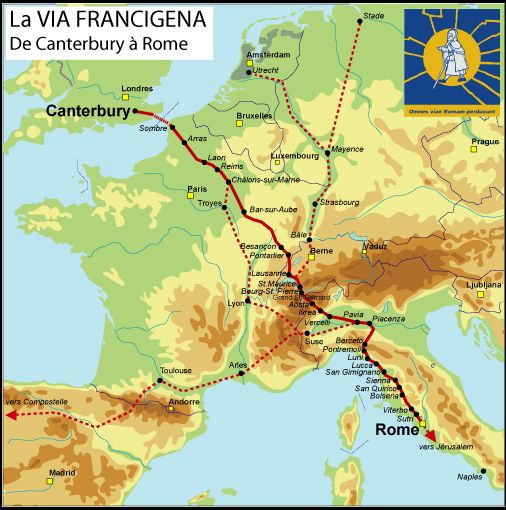 The Via Francigena route from Canterbury to rome,,,or vice versa