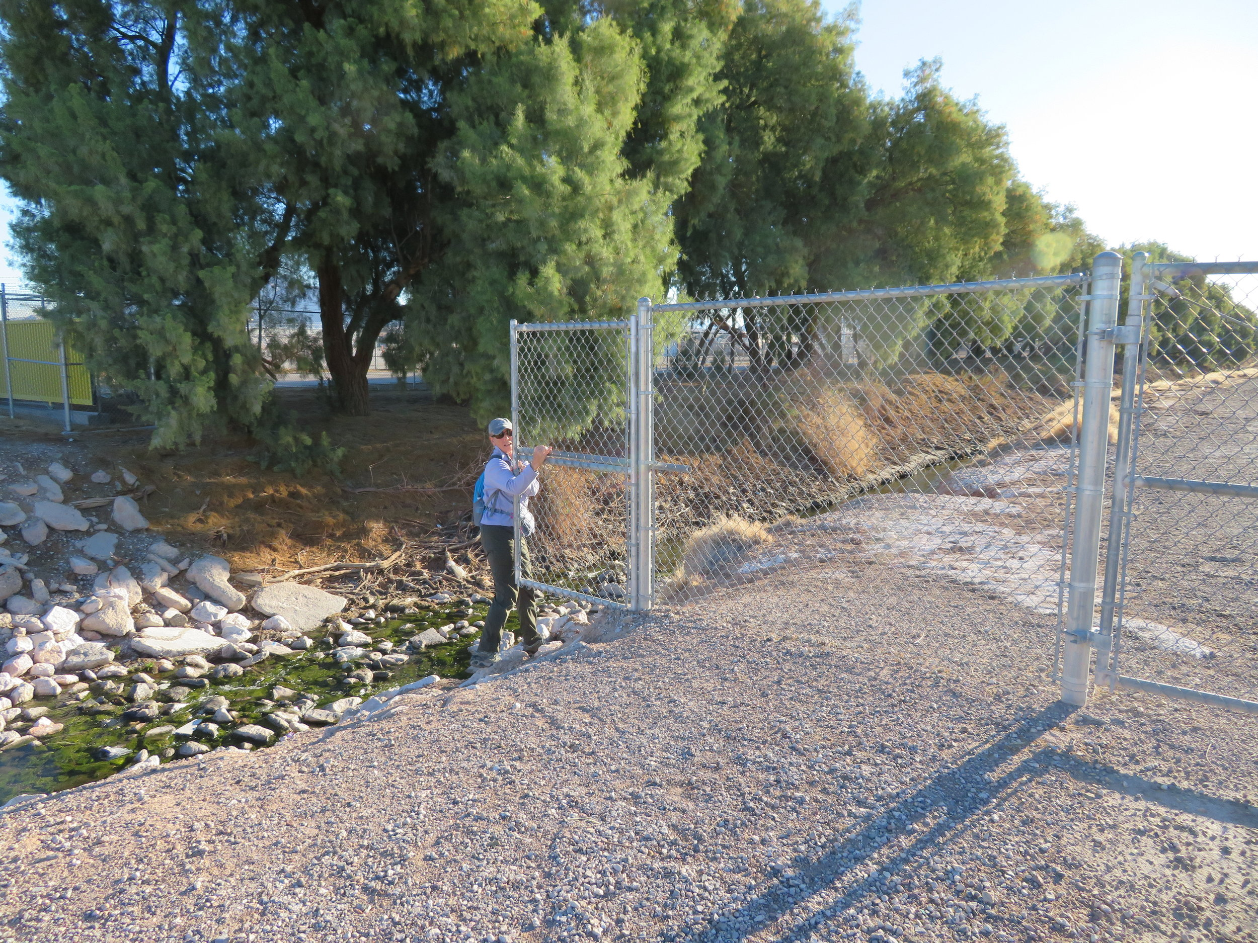 The padlocked gate with the No Trespassing sign might have been a subtle hint that we weren't supposed to pass through, but scofflaws that we are, we managed to walk on and avoid apprehension.