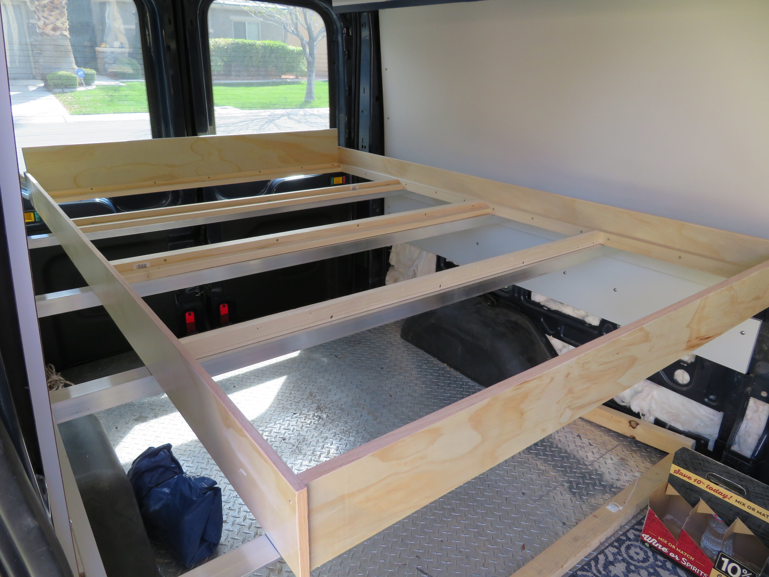 Bed frame in place