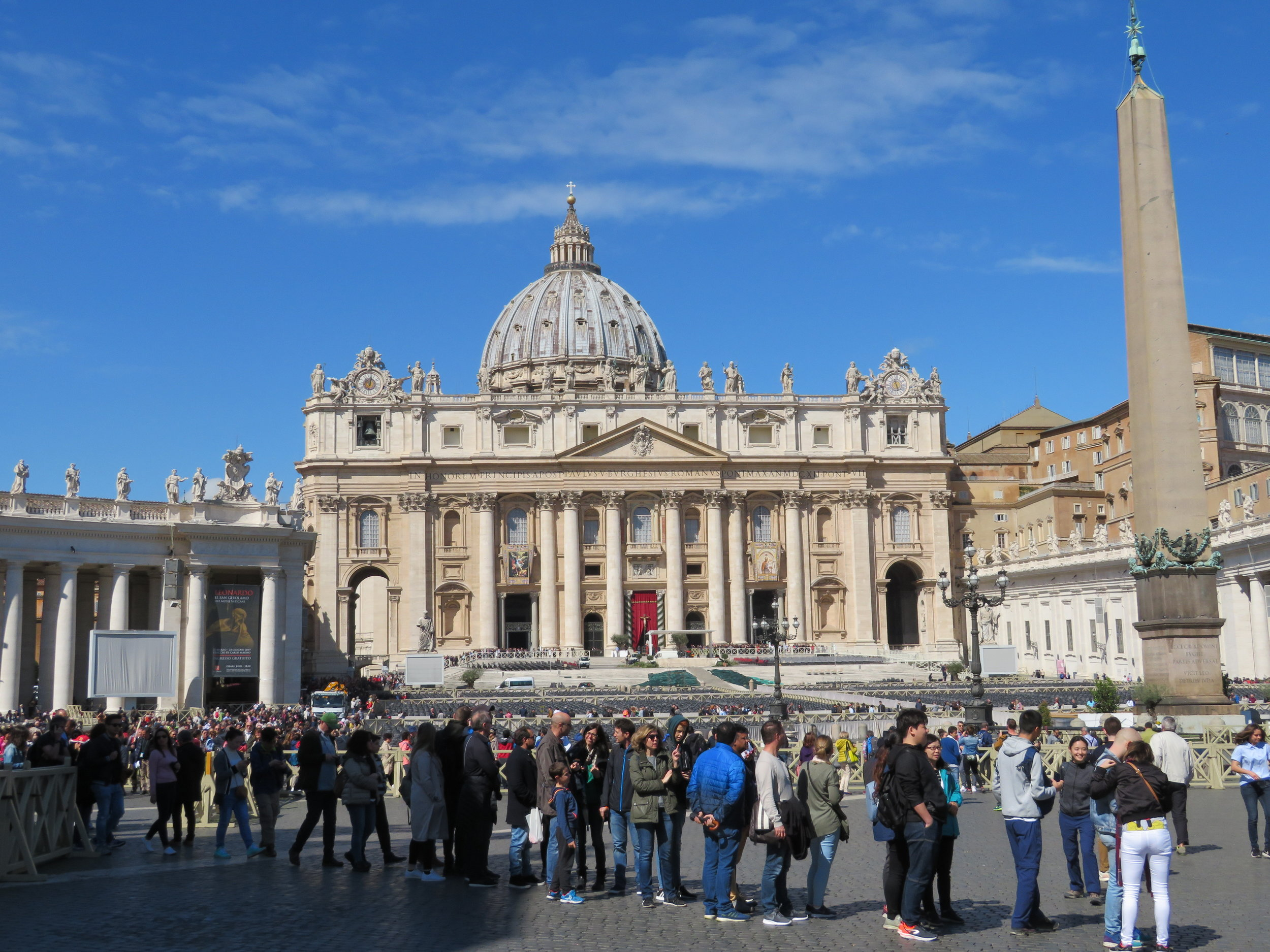 St. Peter's Basilica. There are no skyscrapers in Rome because there is a law that no building may be higher than St. Peter's Basilica.