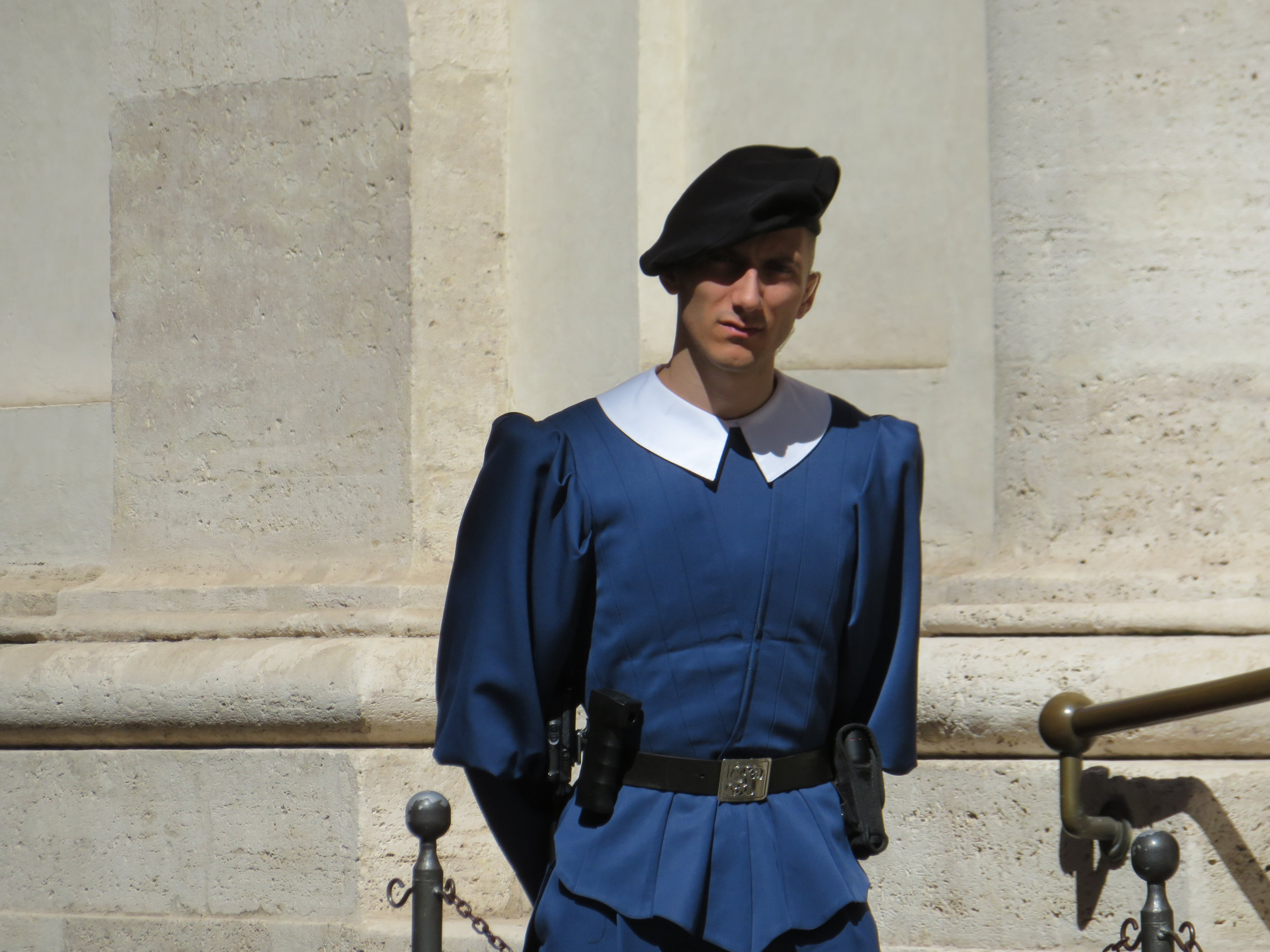 We spotted a Swiss Guard on duty outside the square. The  Pontifical Swiss Guard  has acted as the military for the Vatican City since 1506.