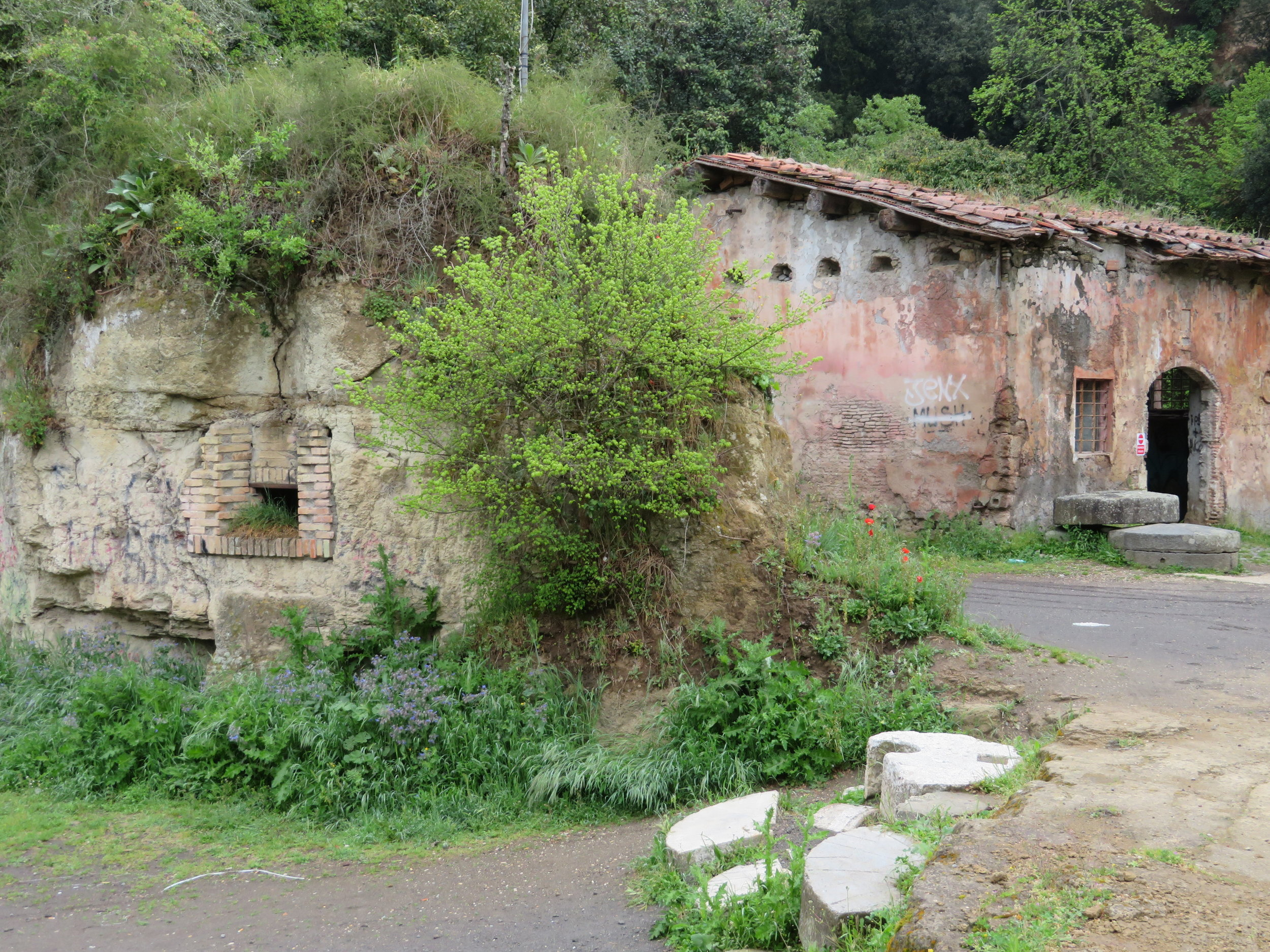 By a river and small waterfall, we passed an  antico molino , an ancient mill.