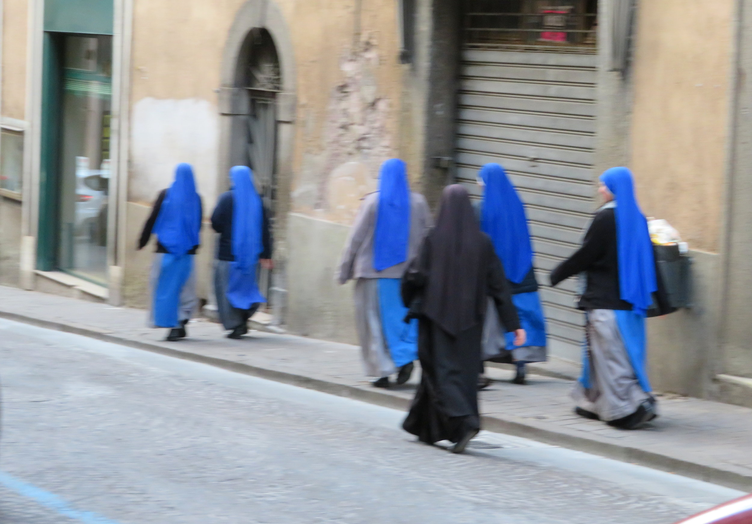 A flock of novices heading to church in Viterbo as we head out in search of our pilgrim stamp.