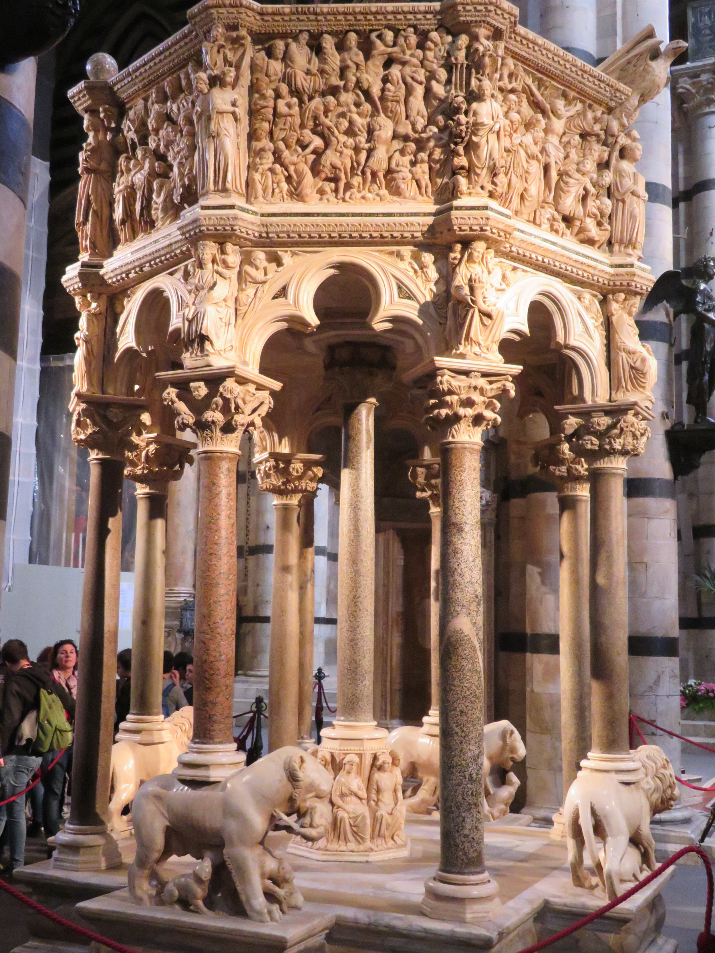 Nicola Pisano's marble pulpit (1265-68) is considered one of the most important sculpted pieces of the Italian 13th century.