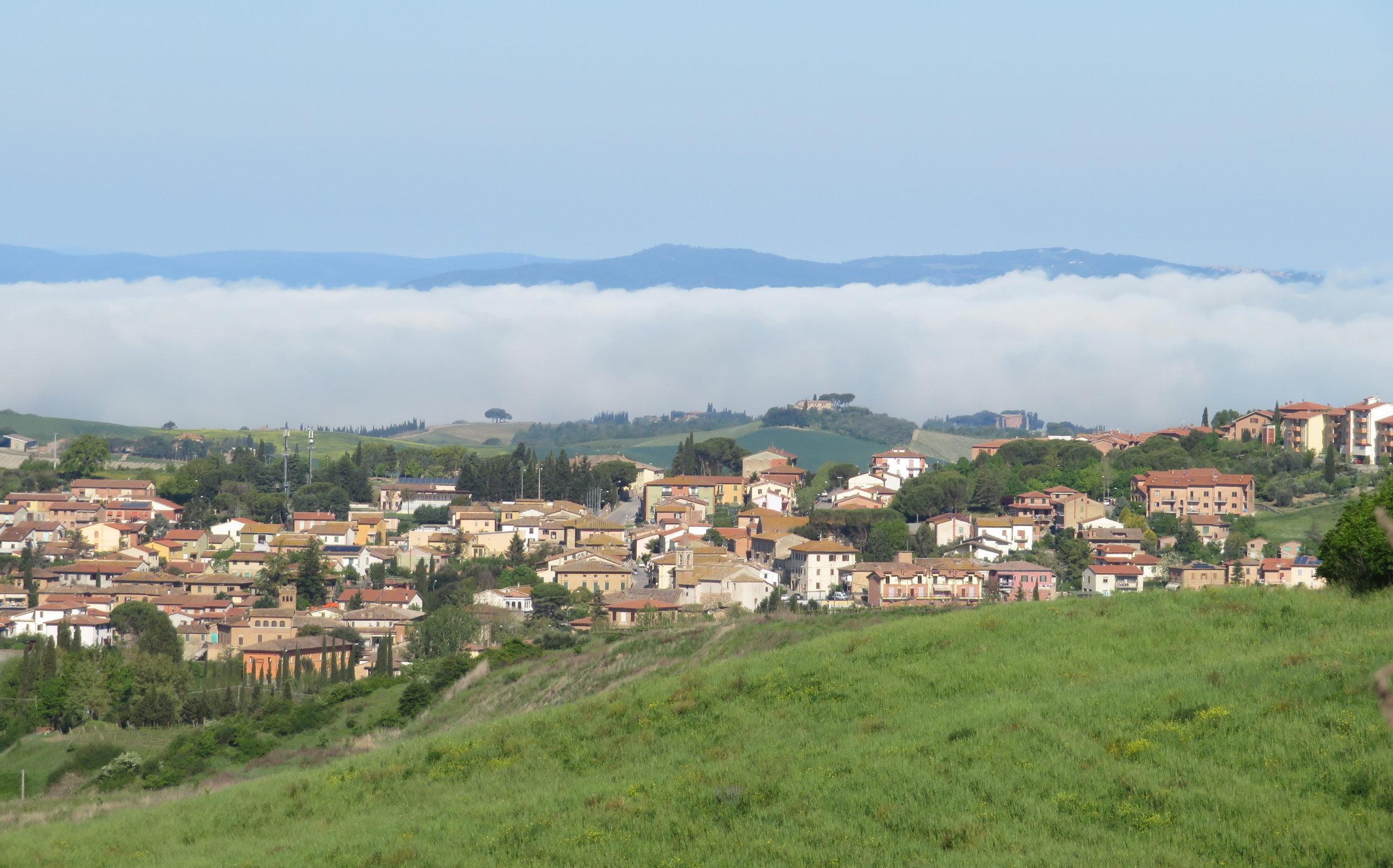 Morning fog over Siena