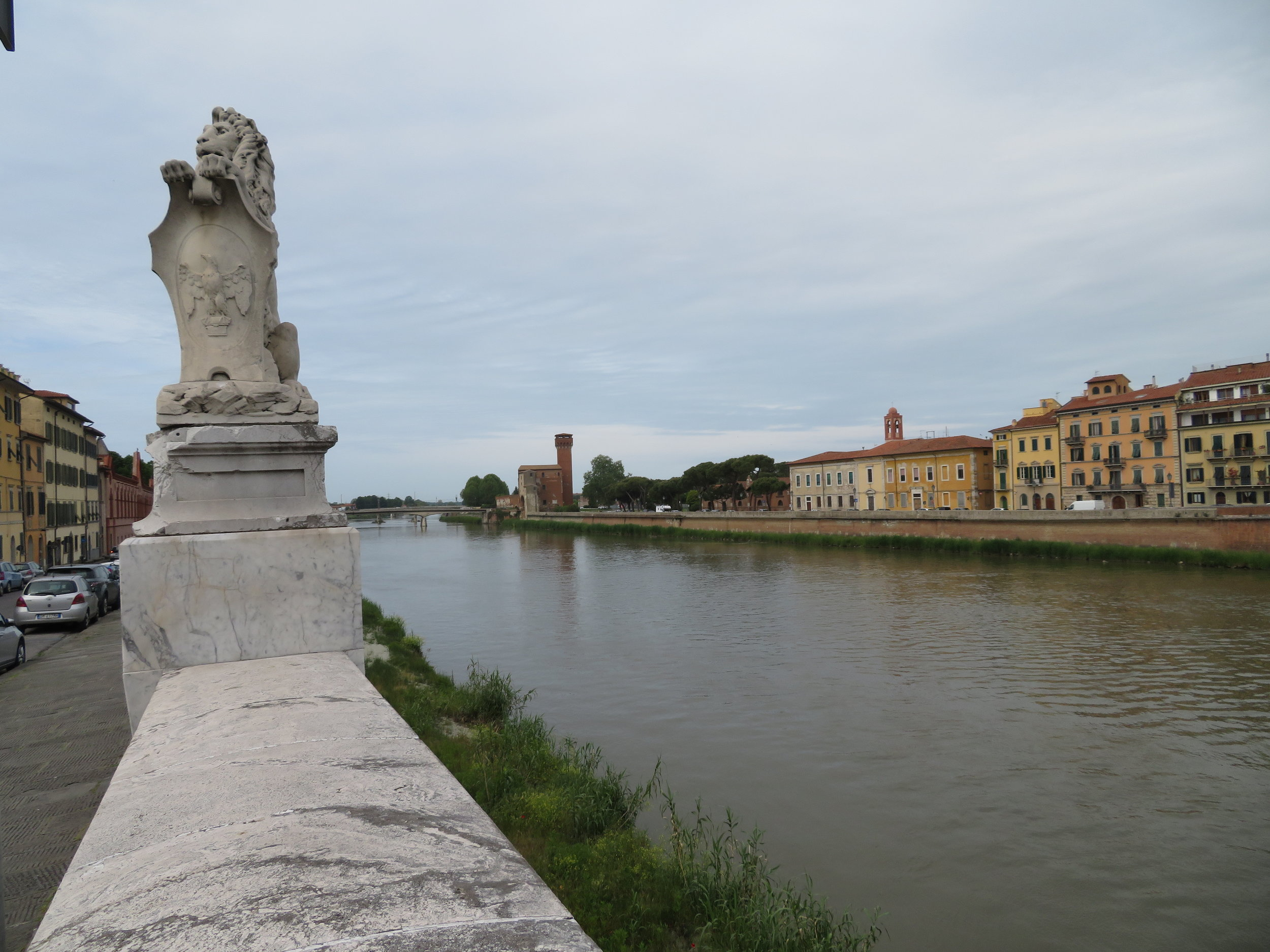 The River Arno runs through Pisa on its way to the Ligurian Sea (part of the Mediterranean).