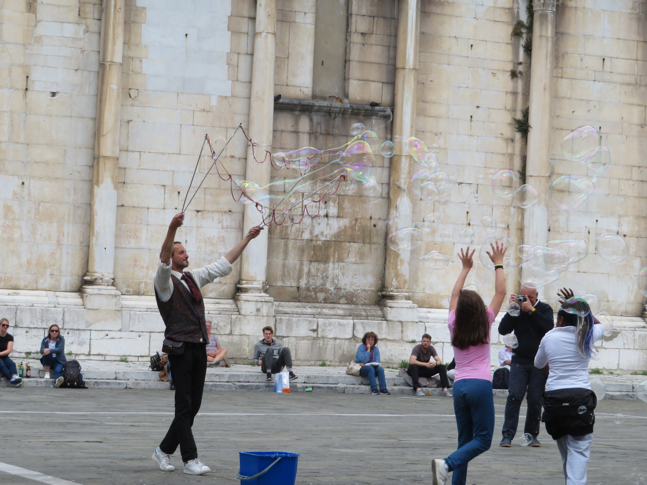 Bubble man in the piazza