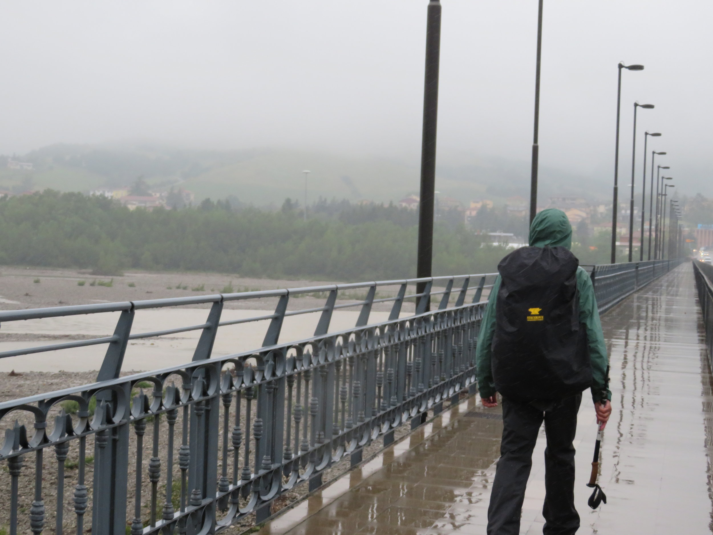 Crossing the Fiume Taro (Taro River) in Fornovo - the beginning of a very wet day!