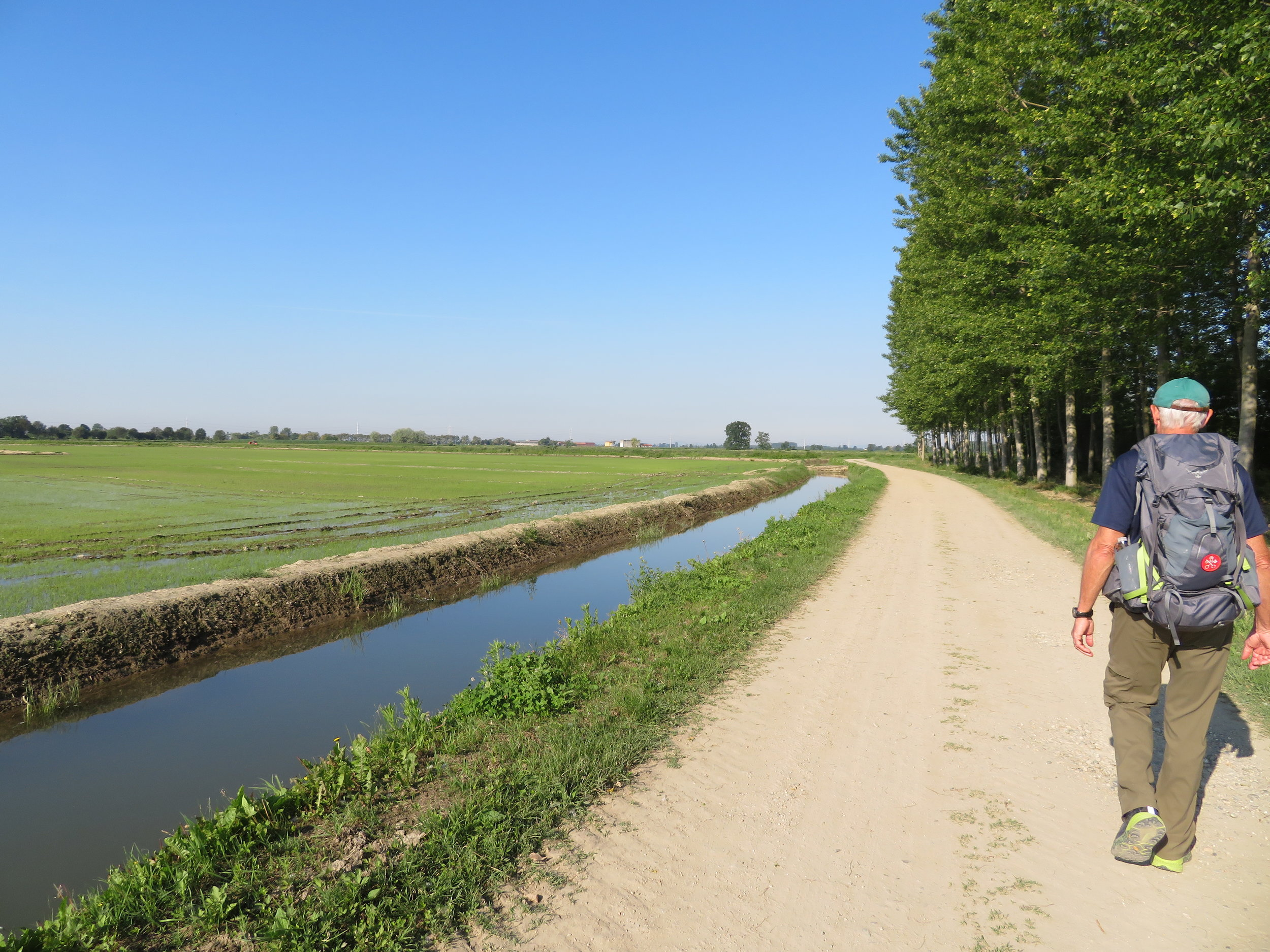 Walking along the irrigation canals and rice fields