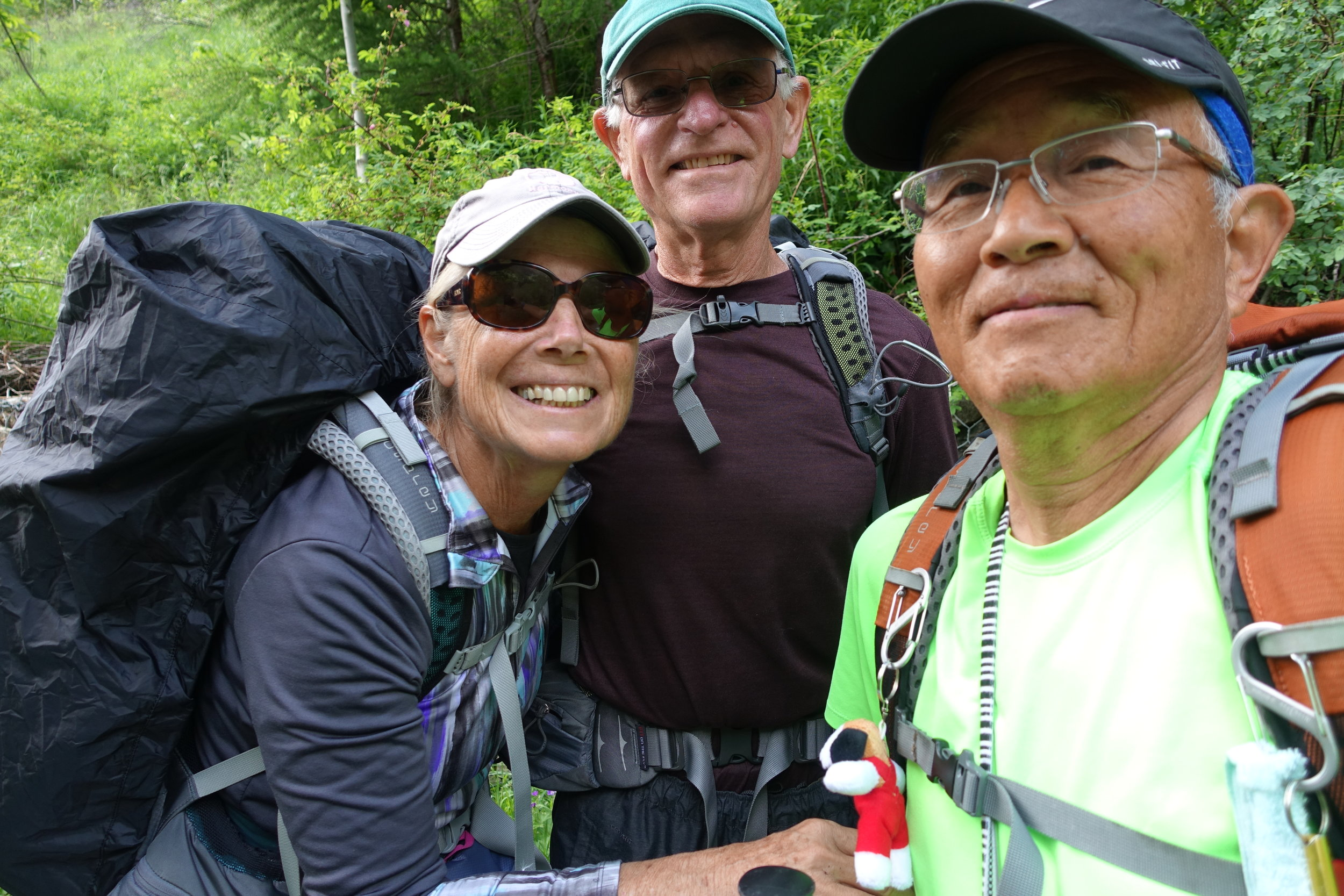 We met a total of 11 pilgrims today, most coming down from the Pass. We had a pleasant chat with Moto Imanishi, a Japanese man celebrating his 70th birthday on the Via Francigena. He took a selfie and sent us a copy … thanks, Moto!