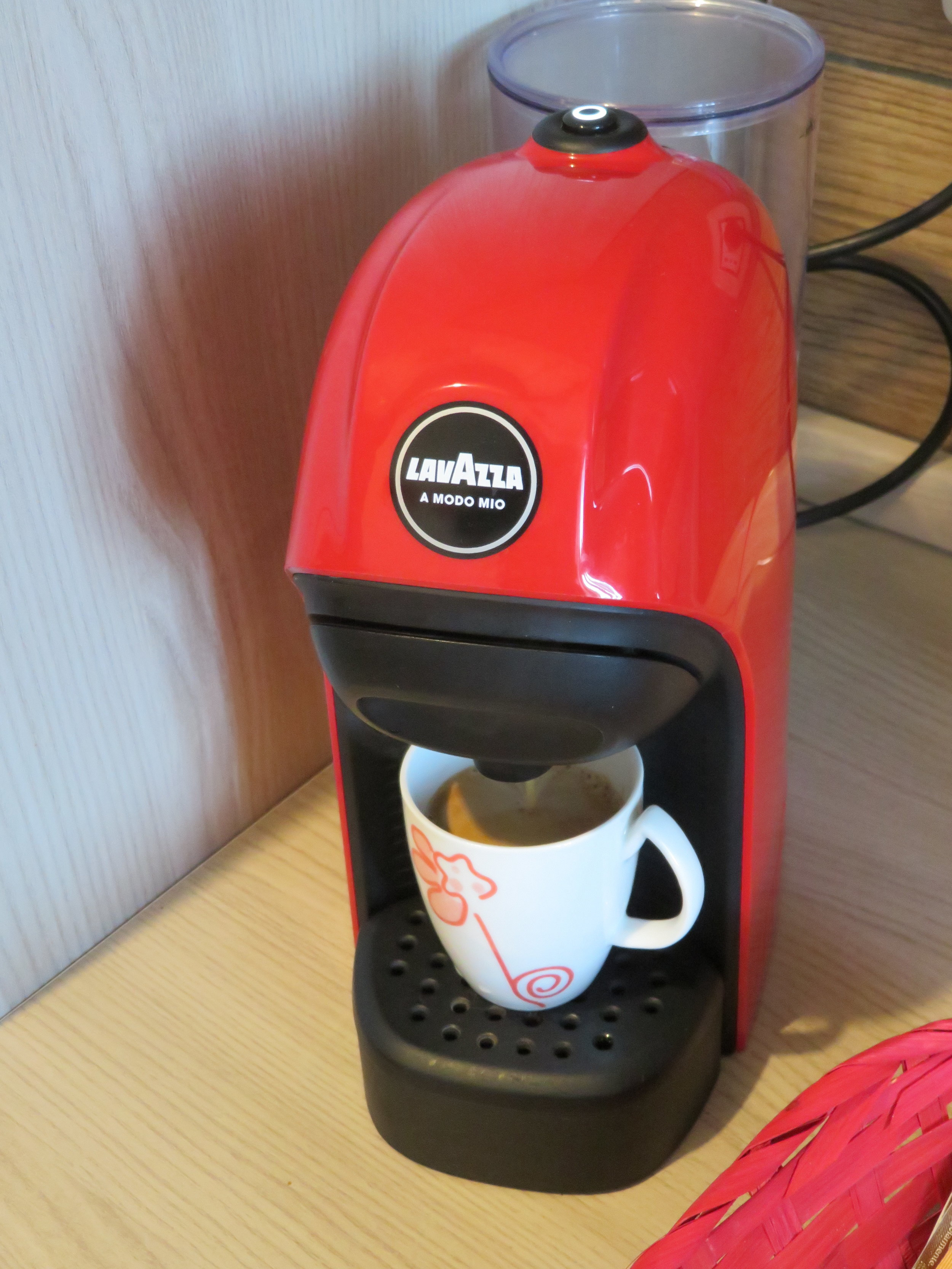 A hotel room coffeemaker
