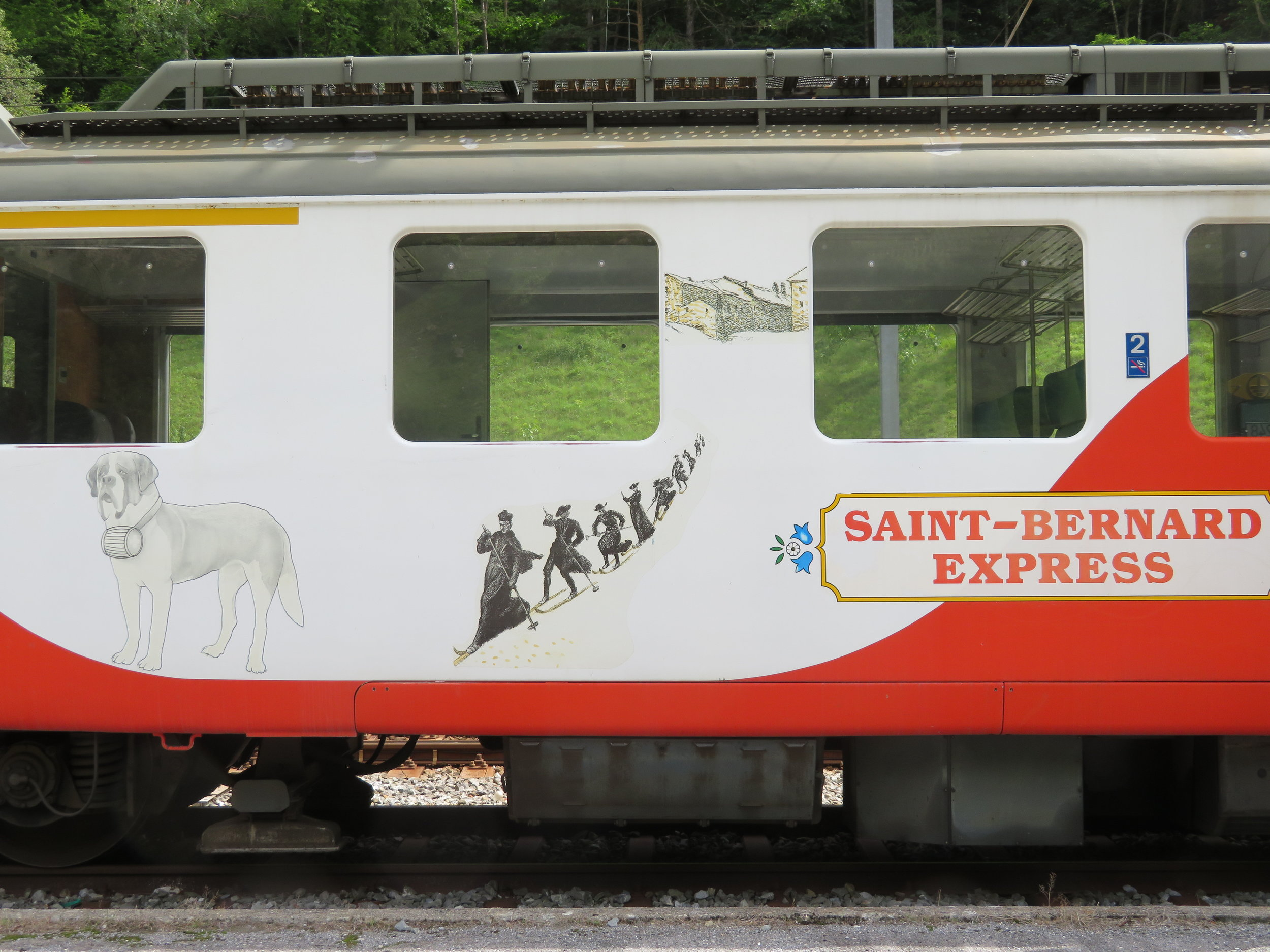 We got a chuckle out of the train car images of the regional St. Bernard Express.