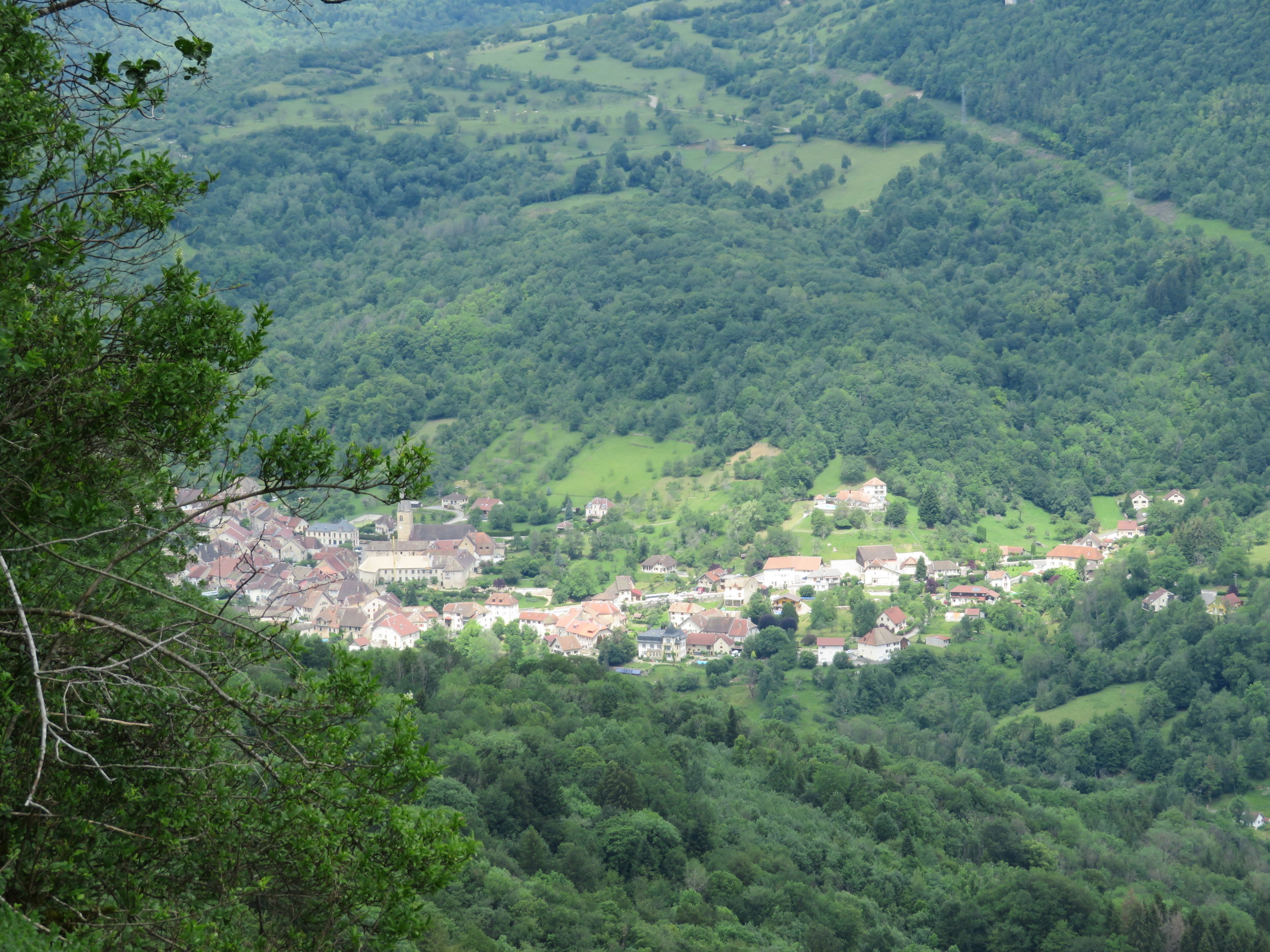 We climbed to the top of Les Gorges de Noailles to an overlook of the valley below. What a view! That tiny village below was our destination for the day, Mouthier Haute Pierre.