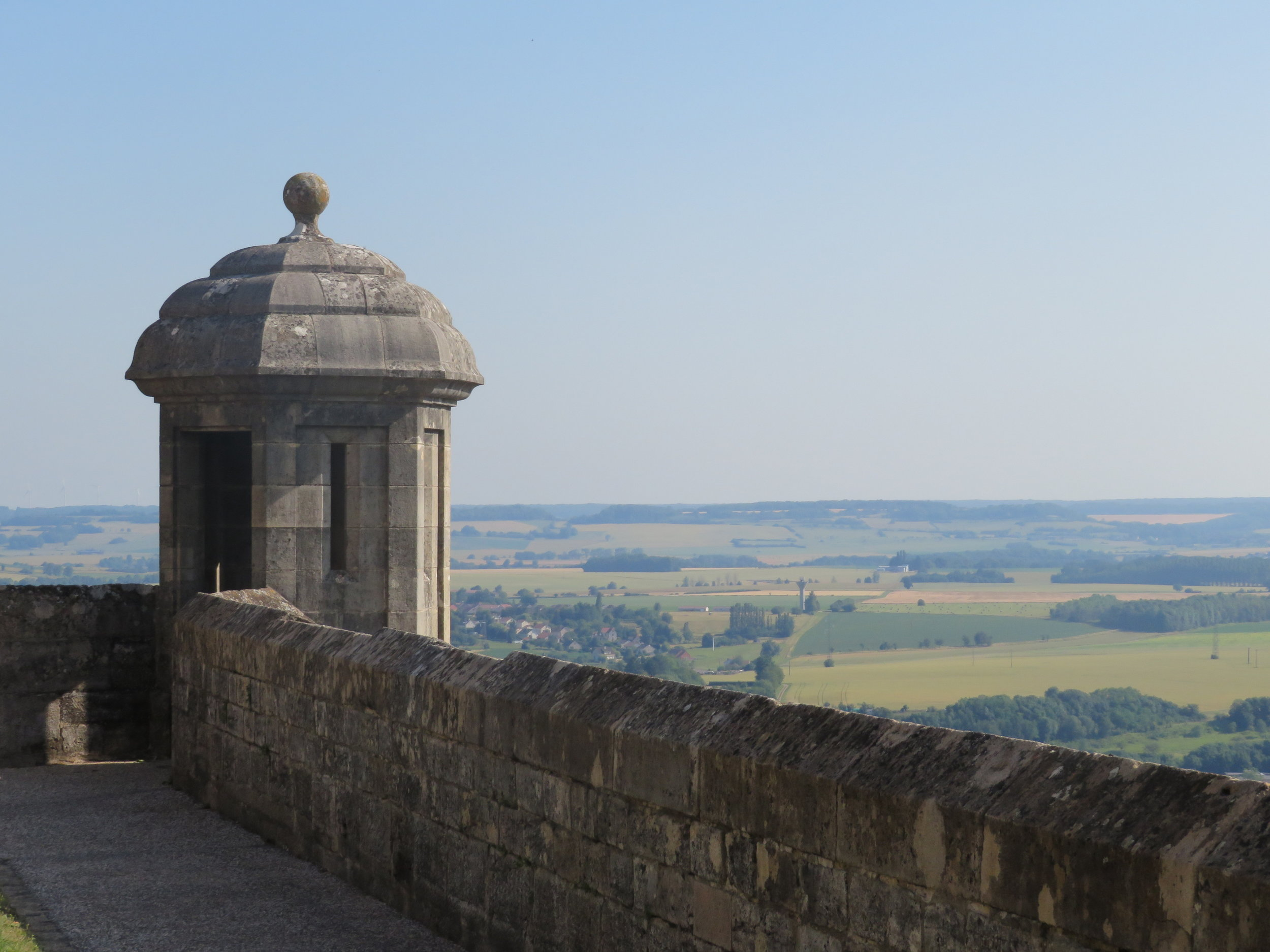 Walking the ramparts of Langres … Piquant Tower and a splendid view of the Marne Valley