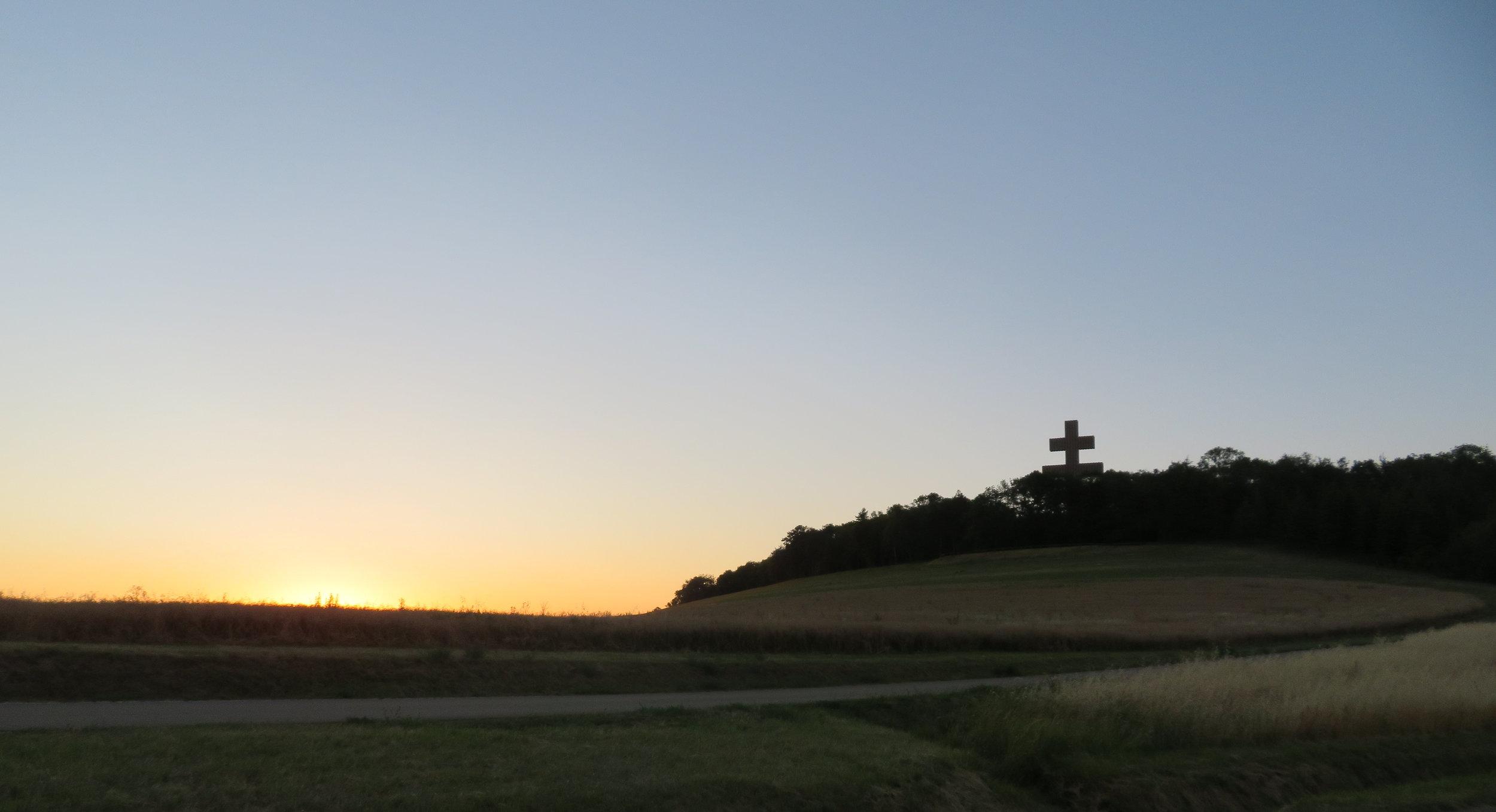 DeGaulle's Lorraine Cross memorial at sunrise