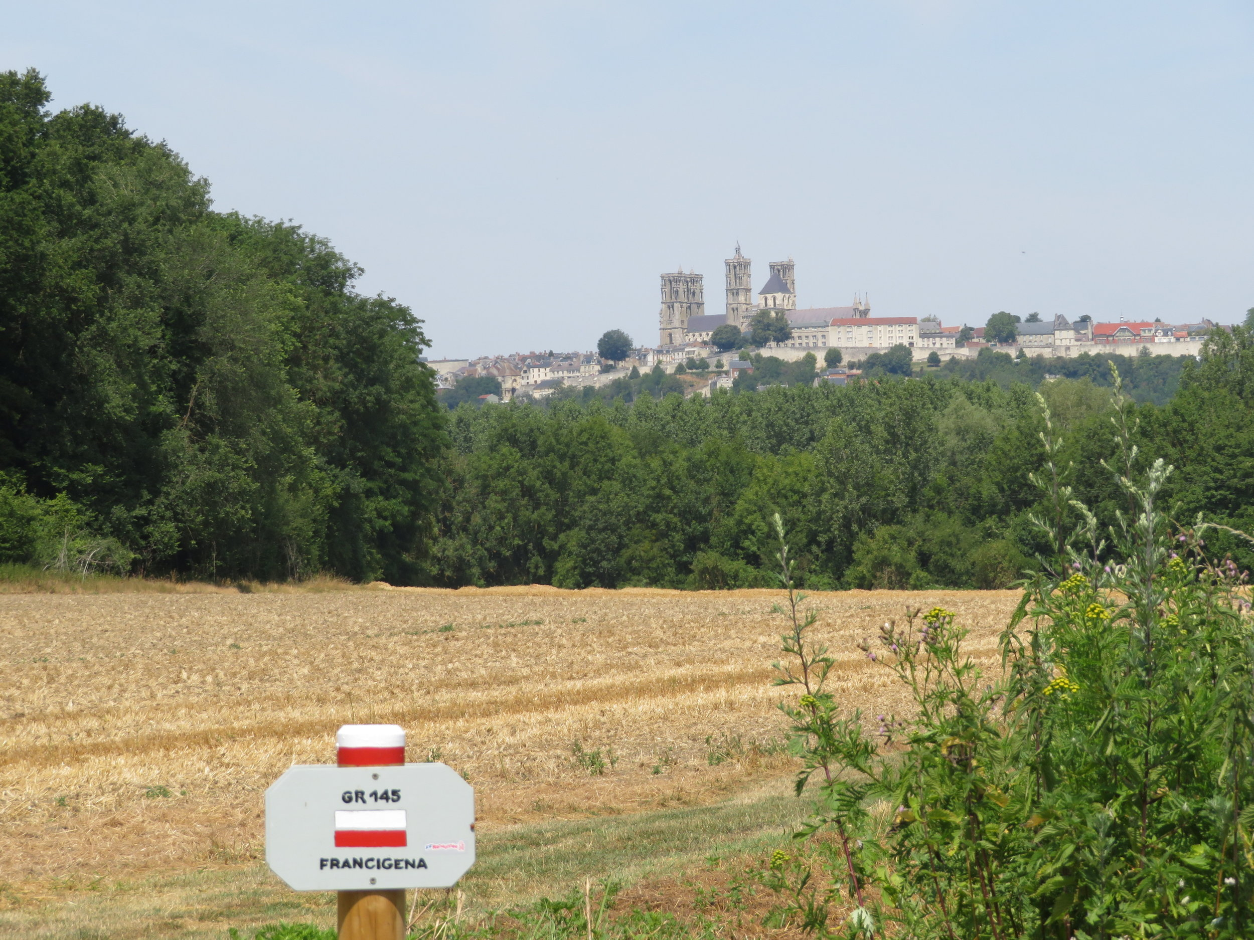 On the Via Francigena, the towers of Laon's Cathedral pop into view