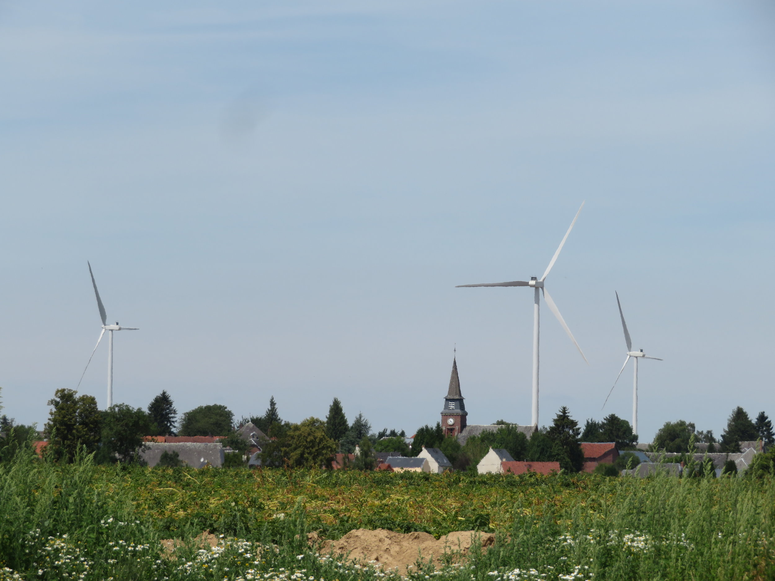There's a village church steeple any direction you look … and wind turbines.
