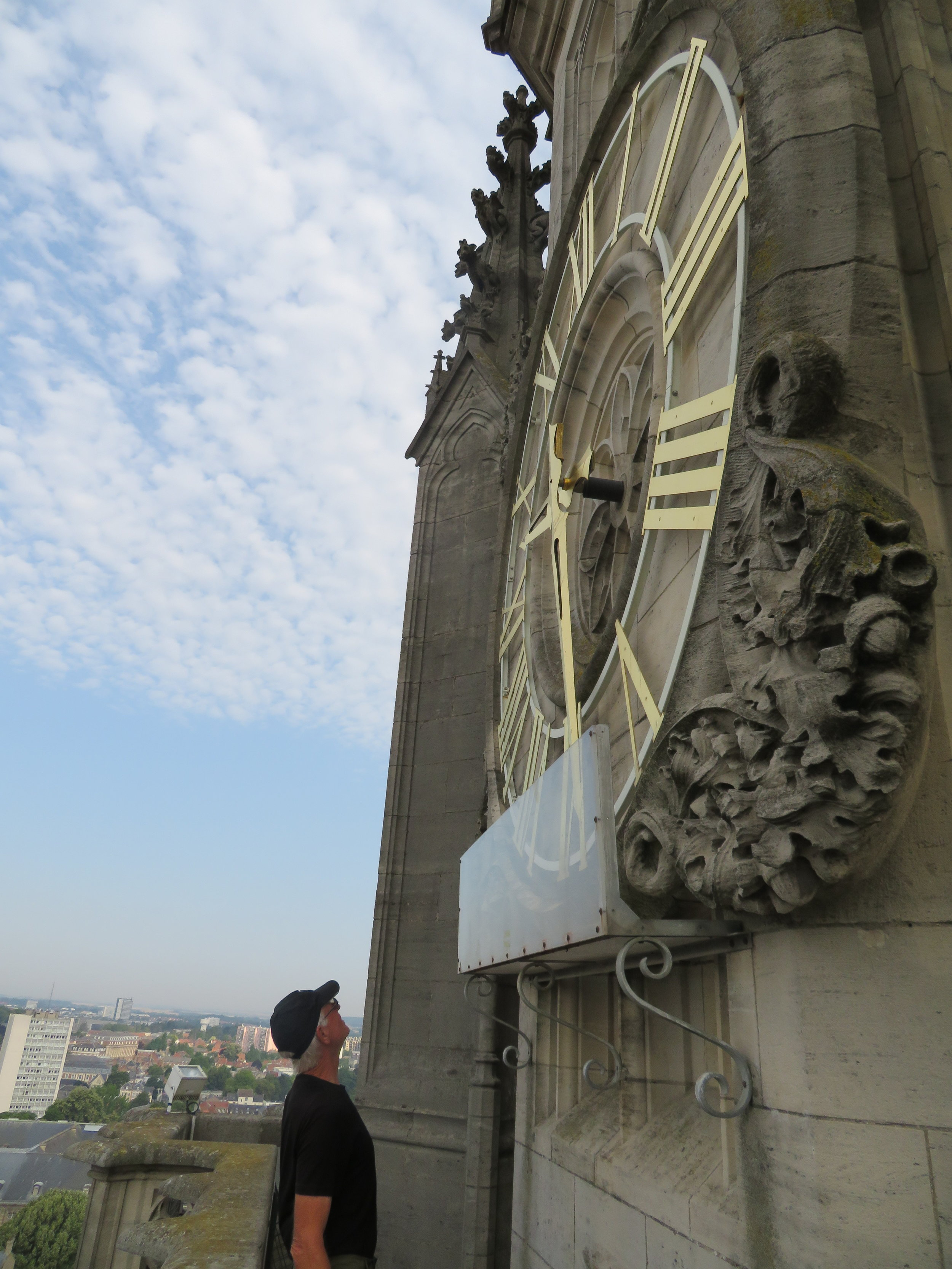 We climbed to the top of the belfry, just under the town clock.
