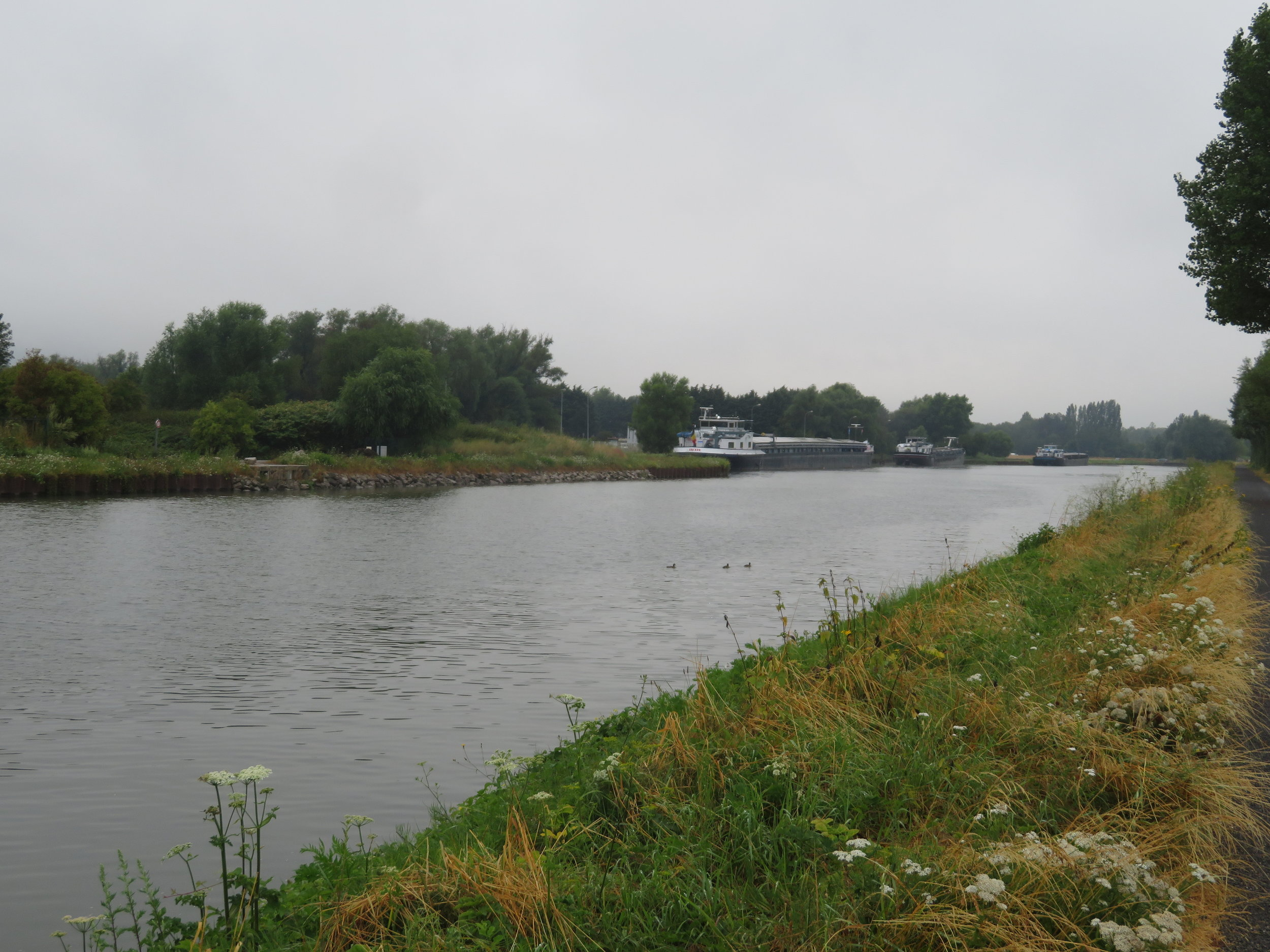 We walked along the Canal d'Aire on a grey day.