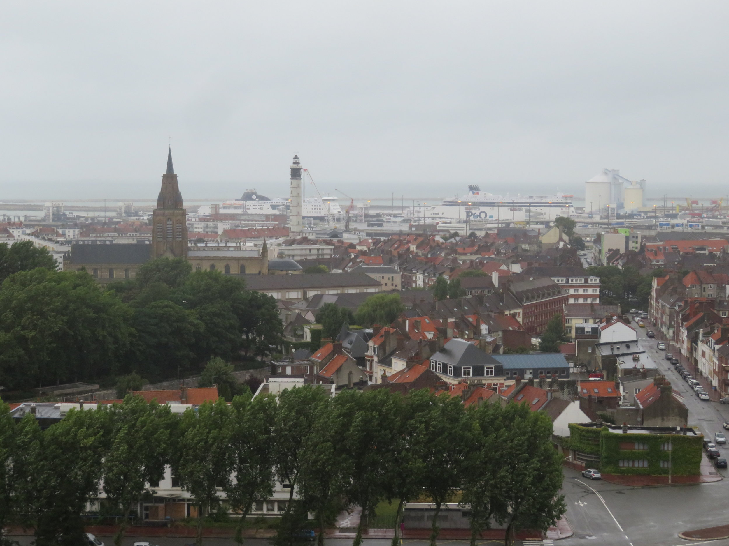 Though it was still rainy and gusty, we opted to take the elevator to the top of the belfry for panortamic views.