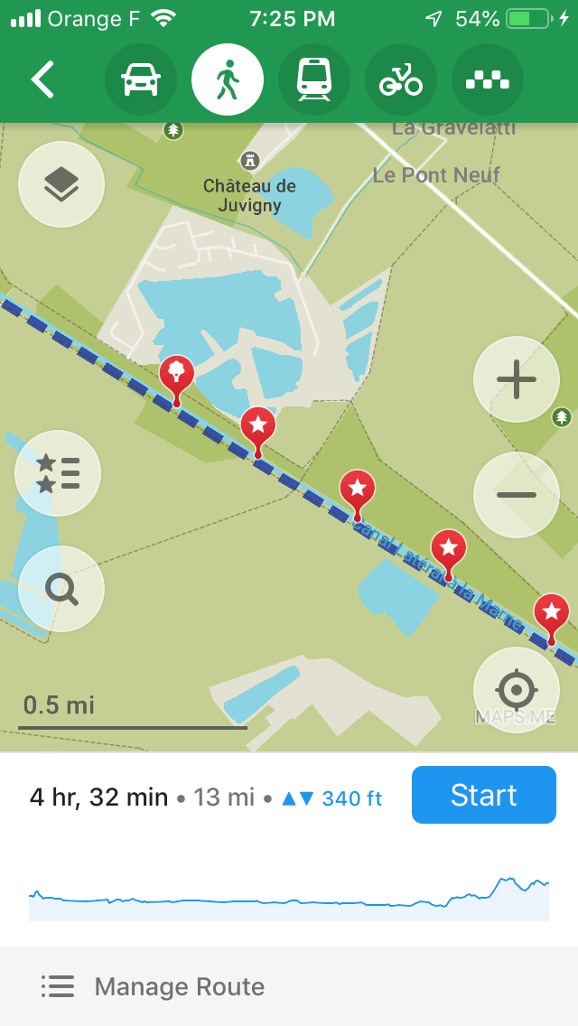 The route for a portion of a day's walk