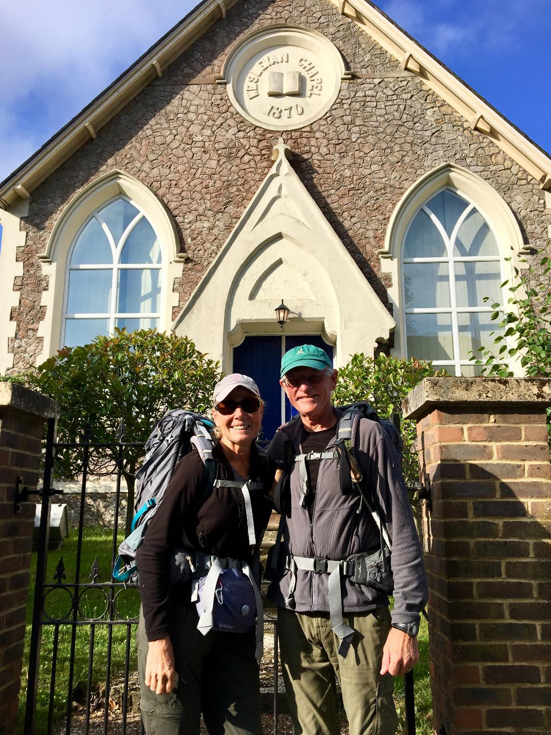 Our host, Joe, fed us a great breakfast then made us fruit smoothies for extra energy to tackle our last day on the Via Francigena. Here we are pictured in front of an 1870 converted Wesleyan Chapel, our digs for our last night on the path. Photo credit: Joe Flavin