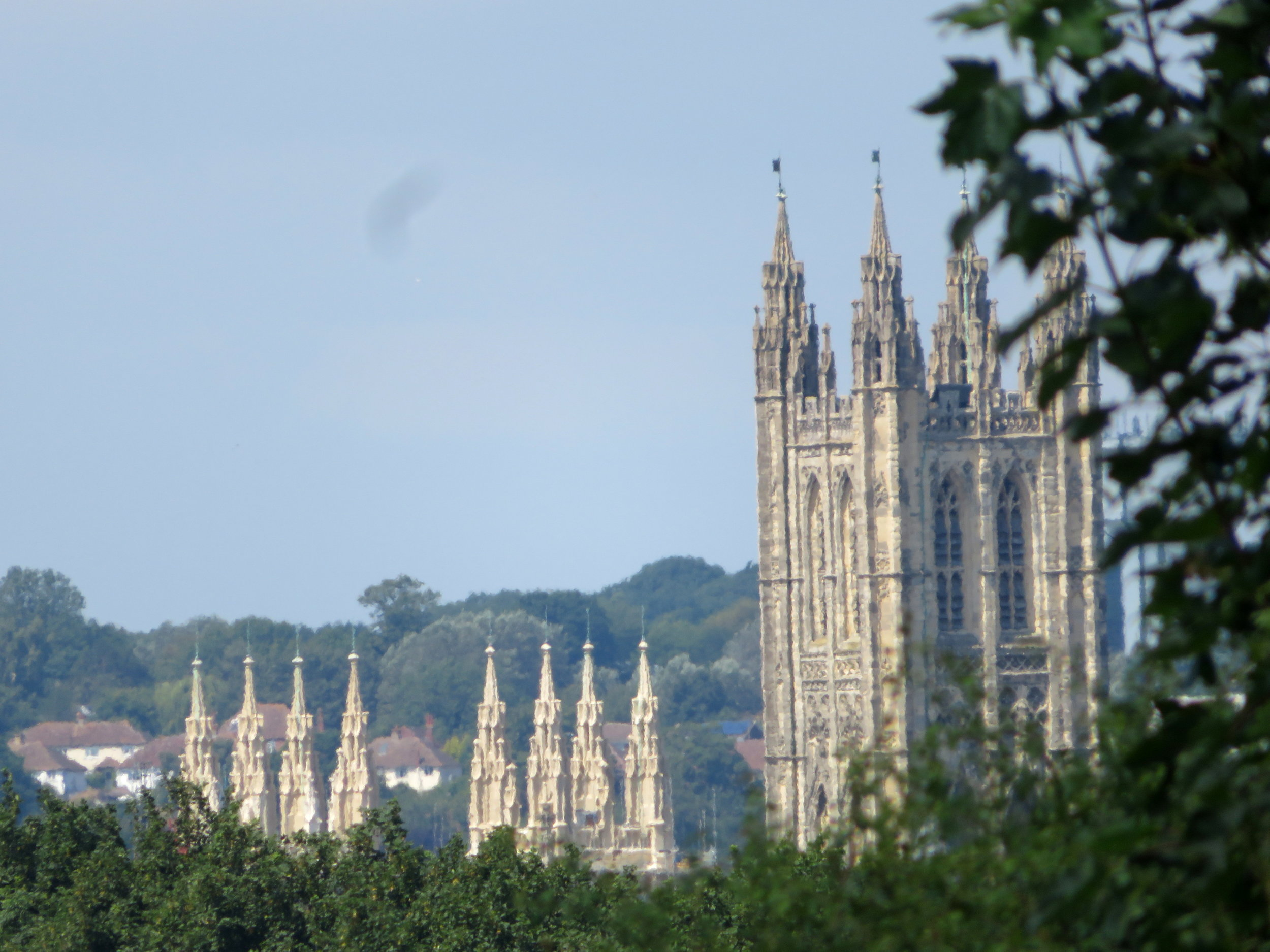 As we neared Canterbury and turned onto Pilgrims Road, the spires of Canterbury Cathedral peeked through the trees. What a sight! It took our breaths away.