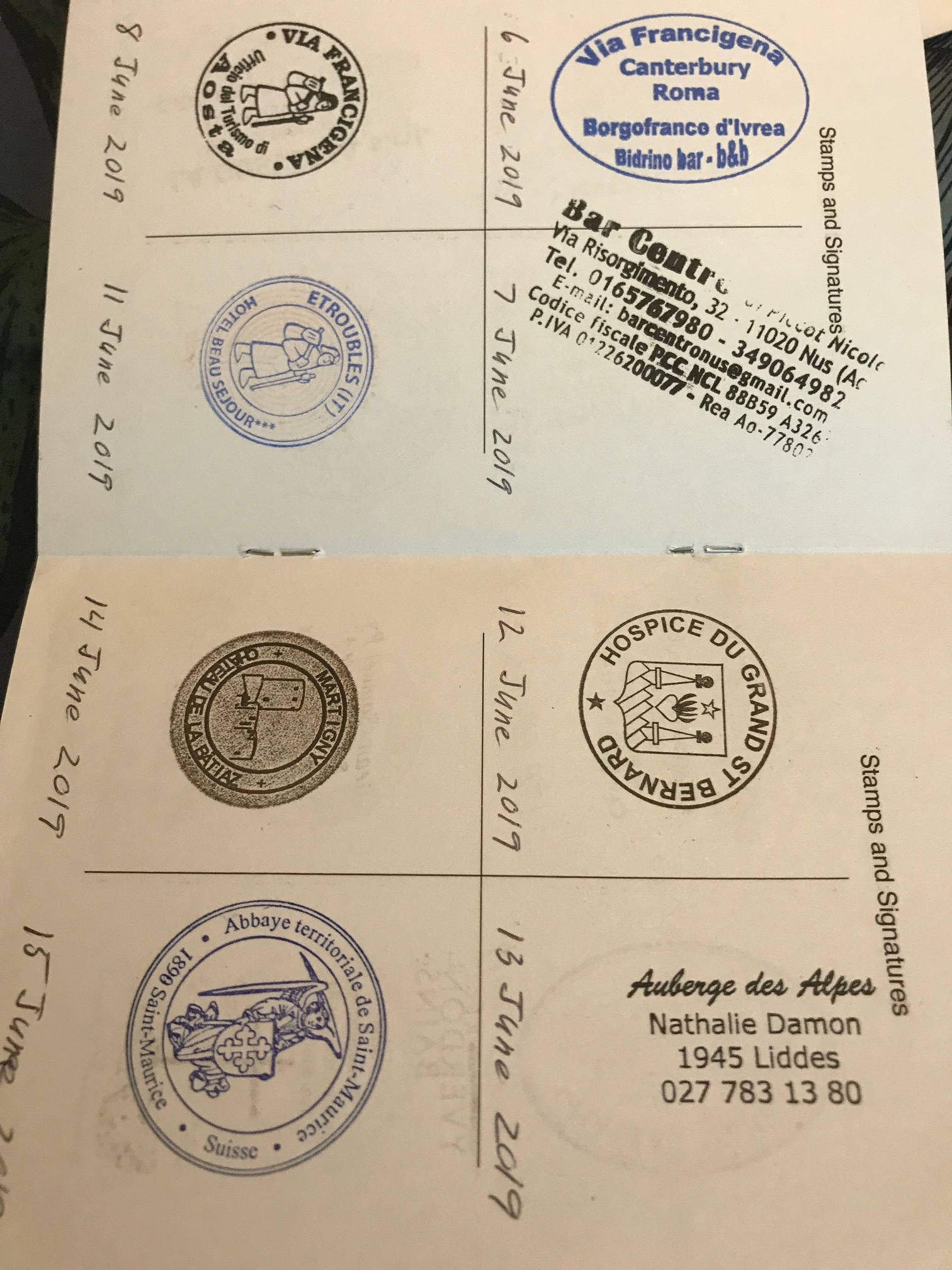 A page of stamps