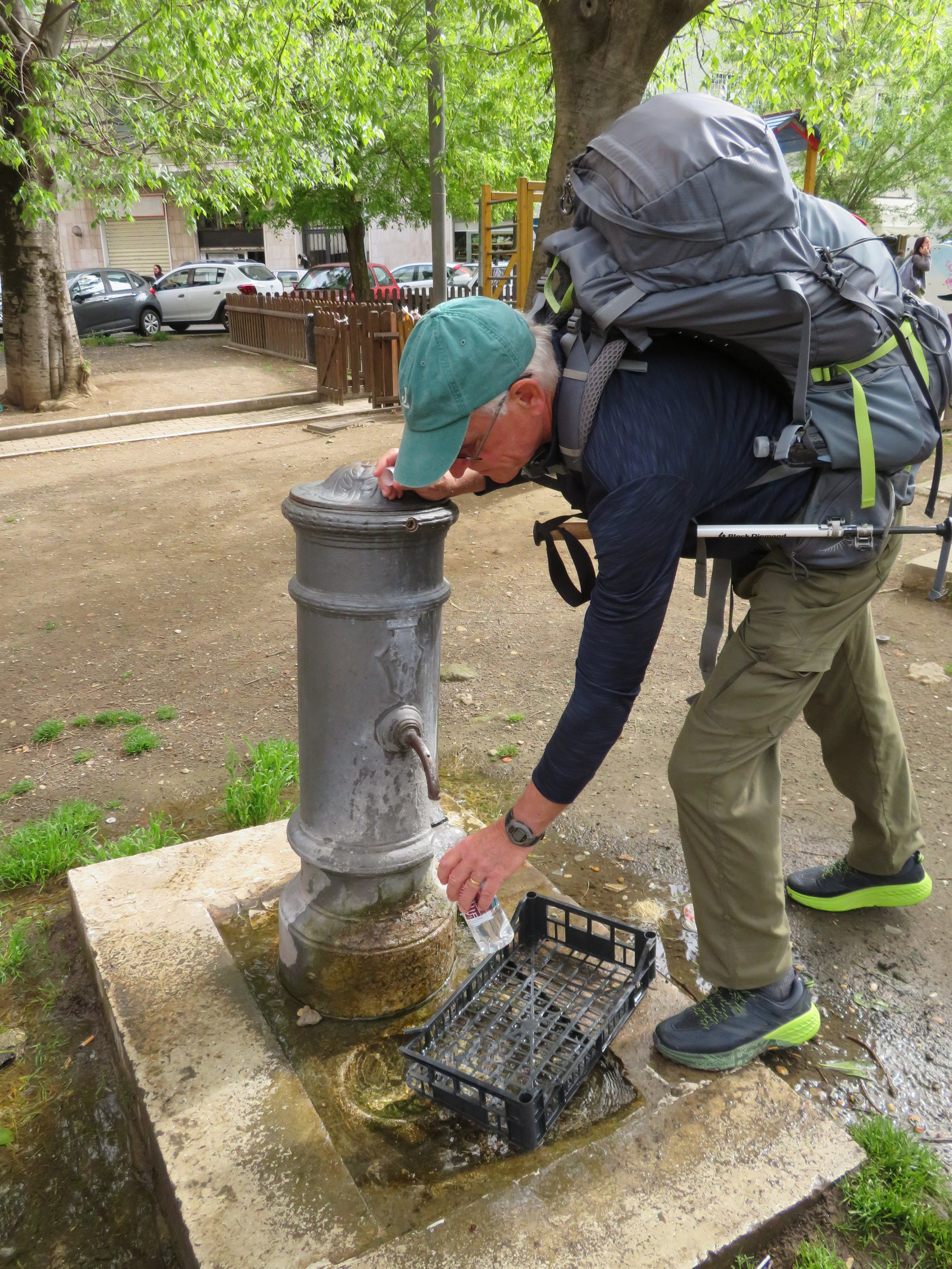 An Italian water fountain. The water was cool and good.
